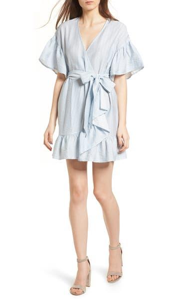 Main Image - STOREE Stripe Ruffle Wrap Dress