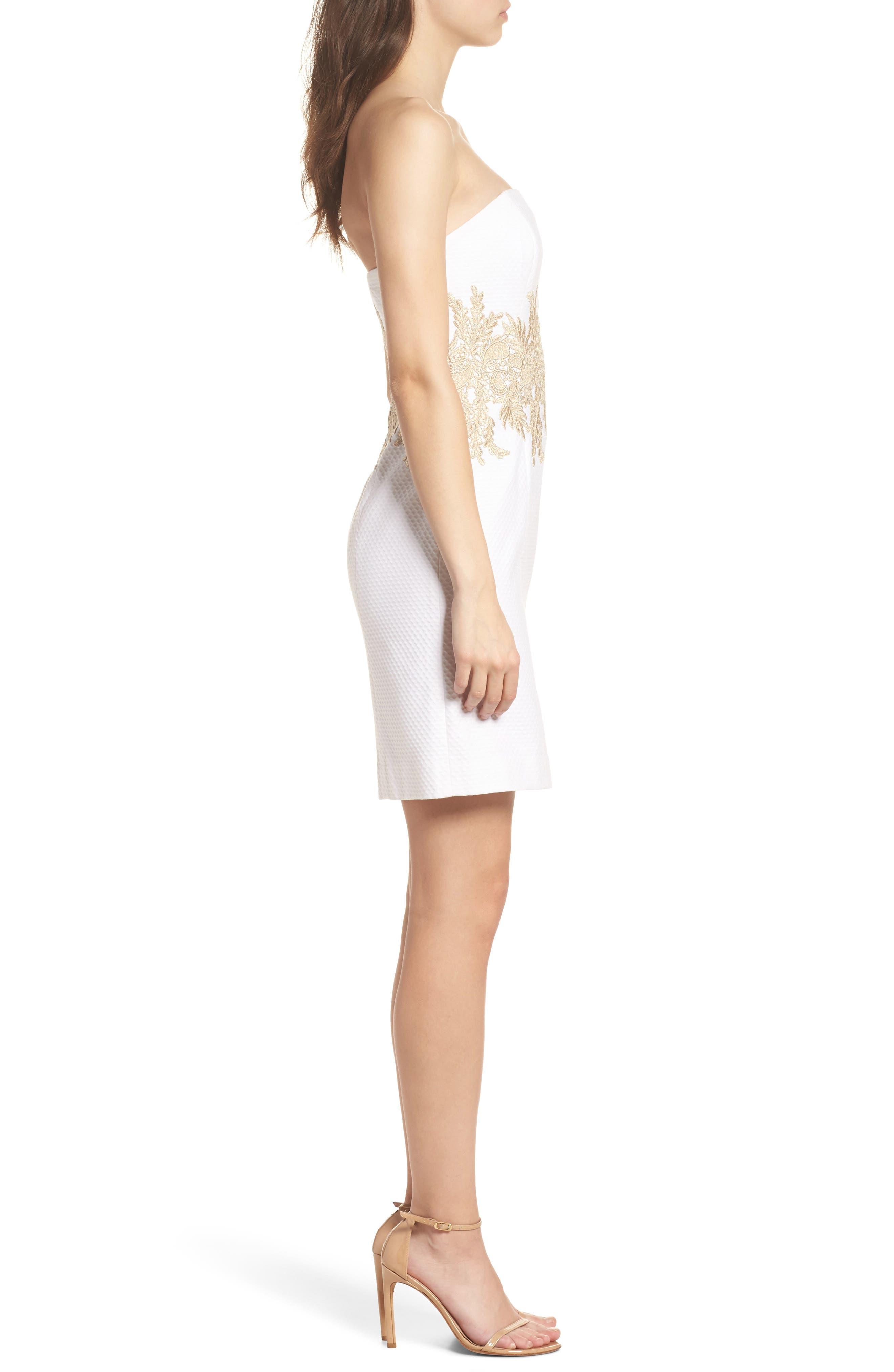 Kade Strapless Dress,                             Alternate thumbnail 3, color,                             Resort White