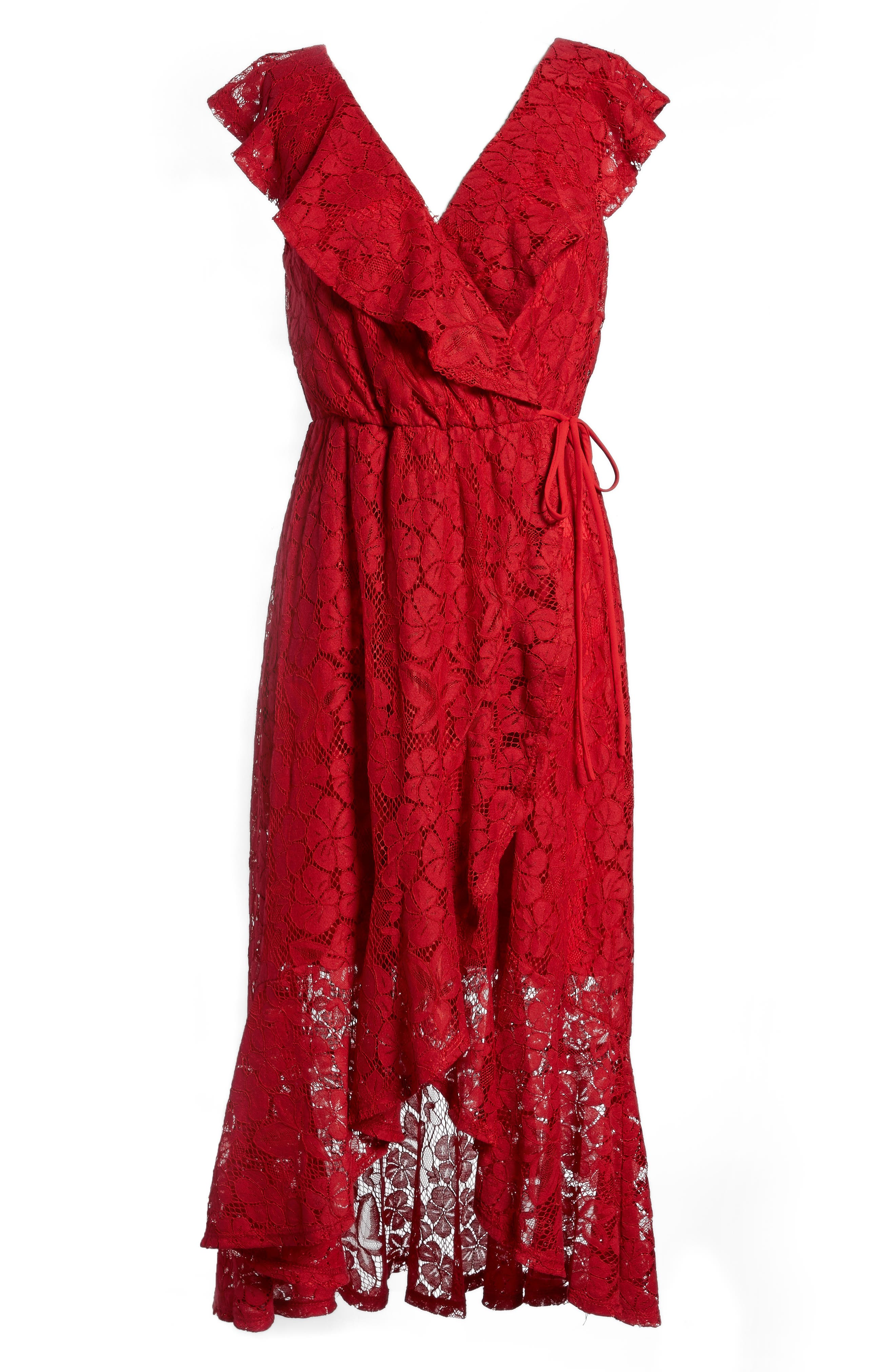 Ruffle Lace Wrap Dress,                             Alternate thumbnail 6, color,                             Red