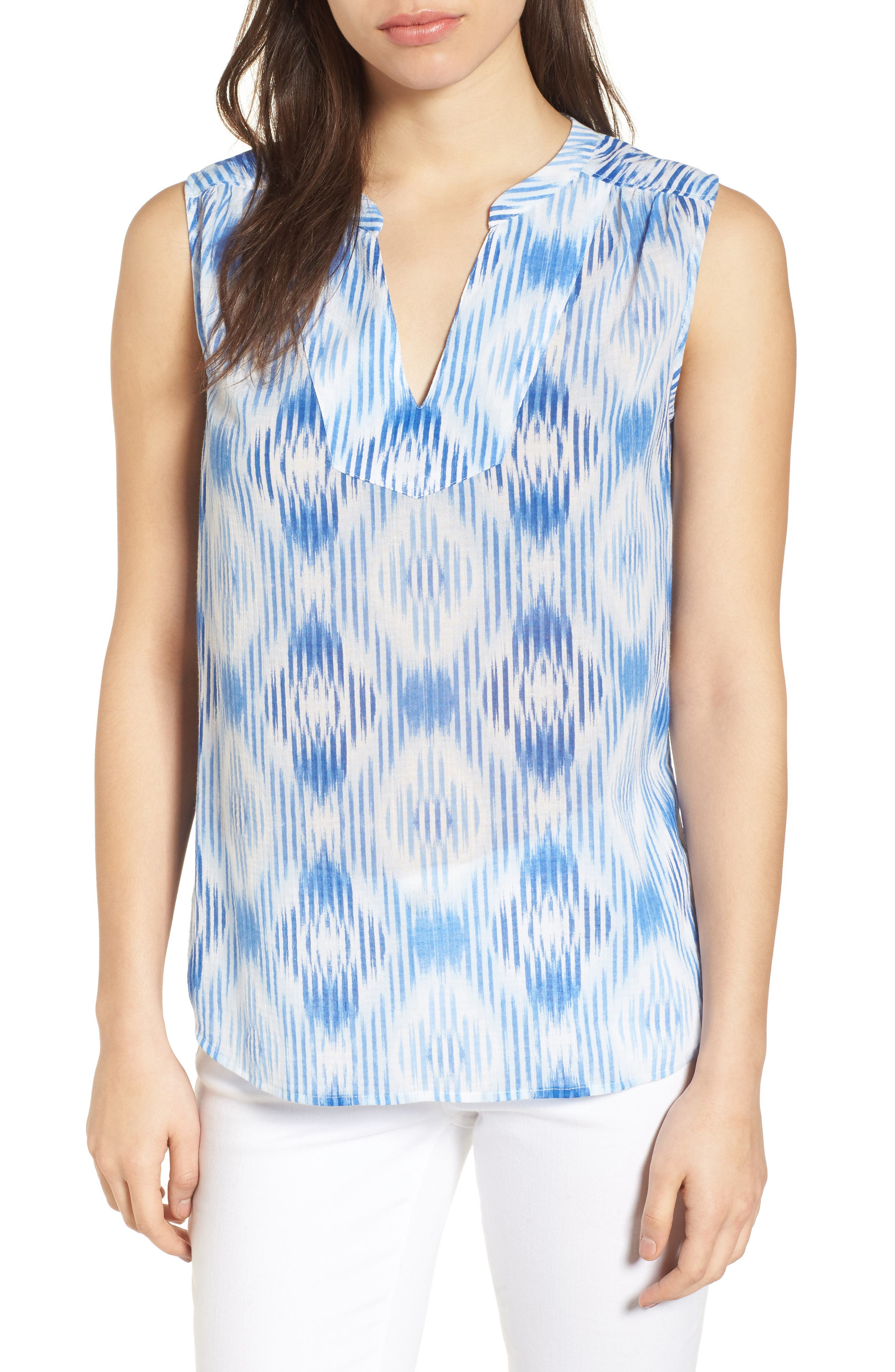 Isabella Sleeveless Cotton Top,                         Main,                         color, Palace Blue