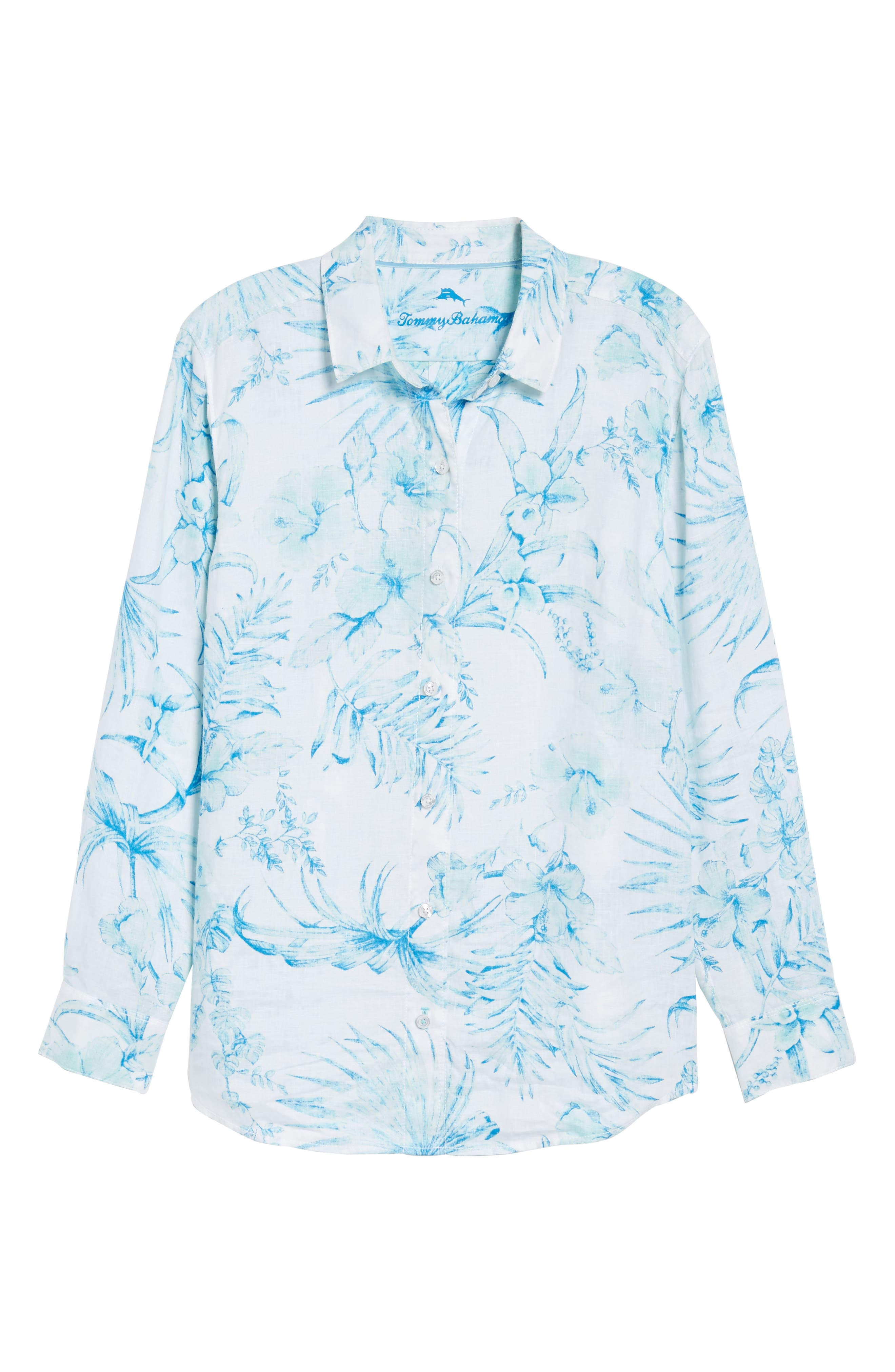 Tulum Tropical Linen Shirt,                             Alternate thumbnail 6, color,                             Blue Radiance