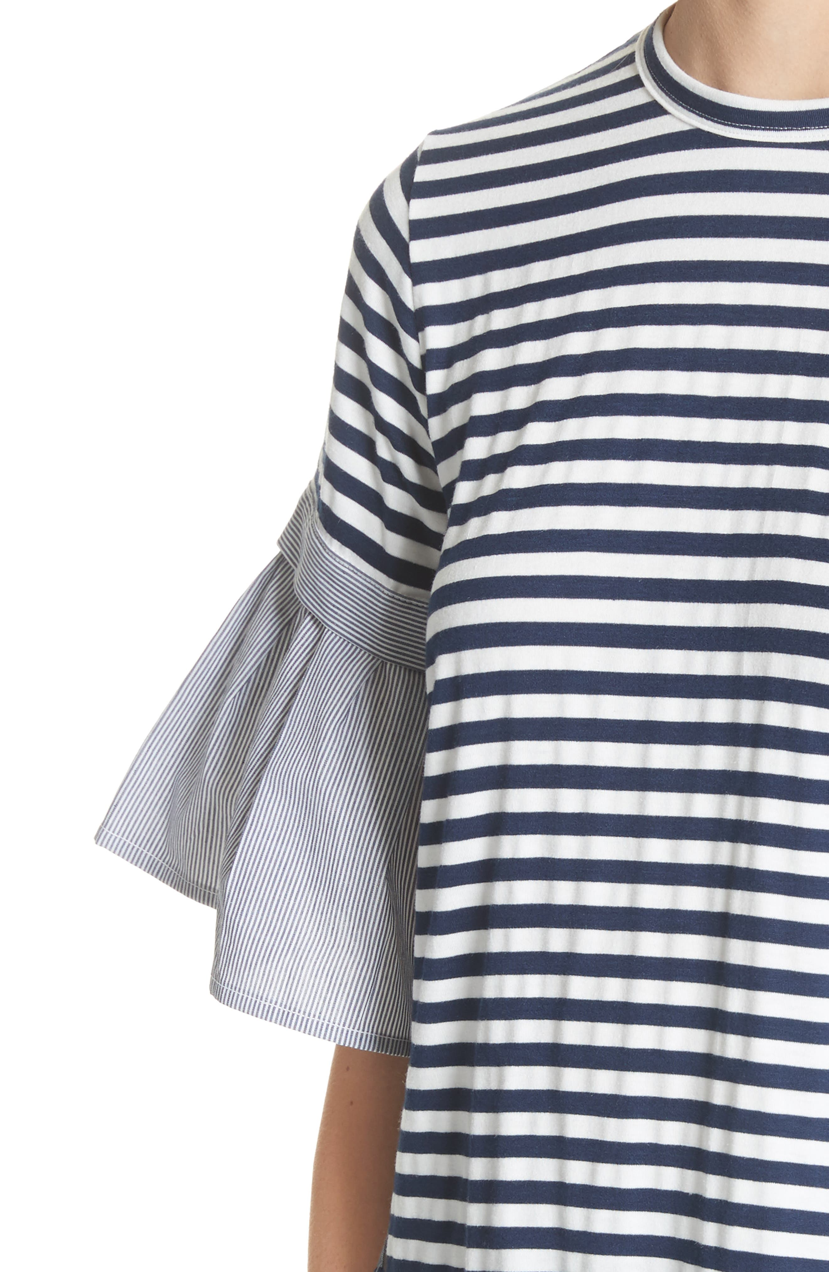 Ruffle Sleeve Stripe Tee,                             Alternate thumbnail 4, color,                             Navy
