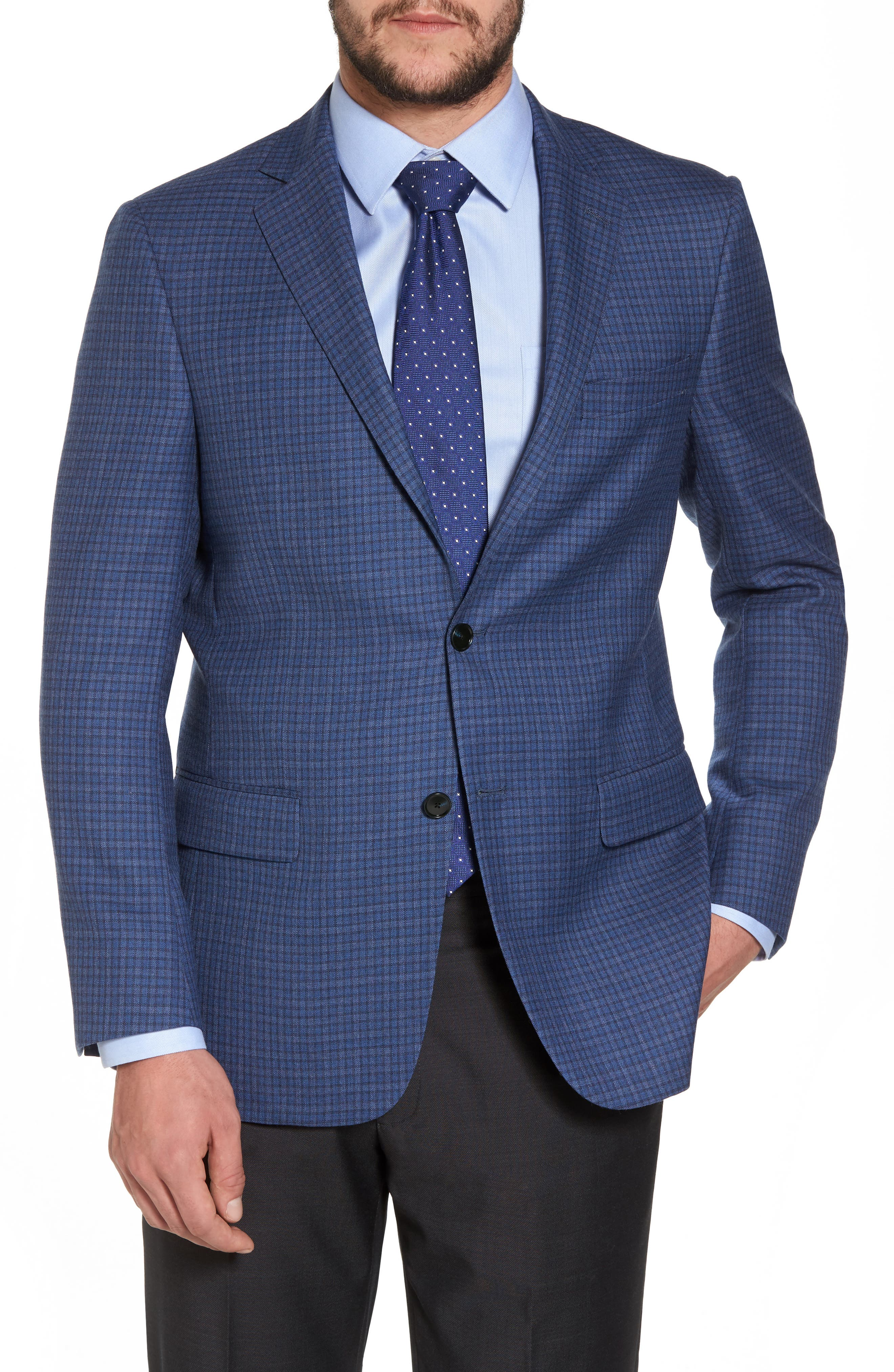 Classic Fit Check Wool Sport Coat,                         Main,                         color, Mid Blue
