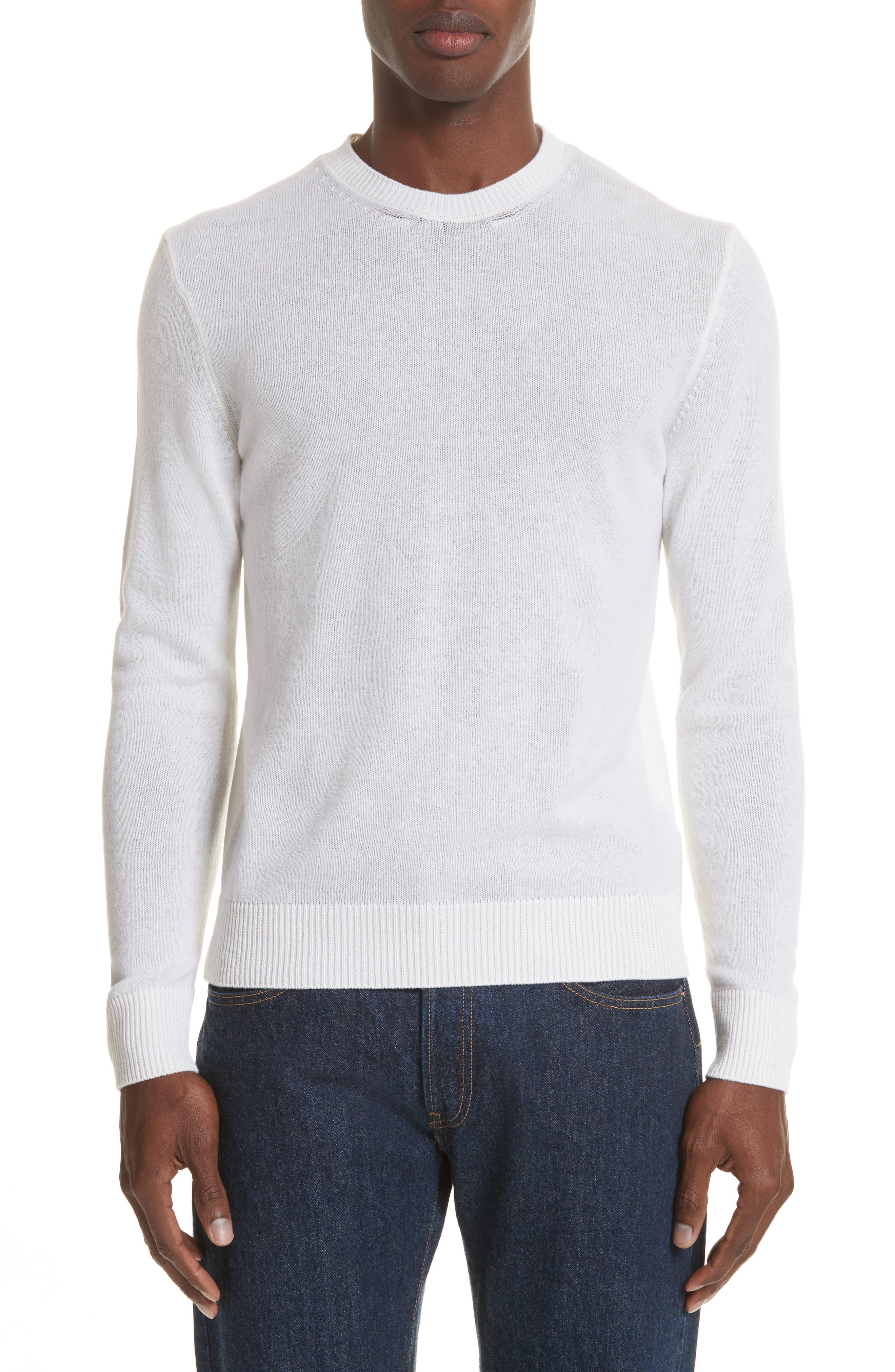 Cashmere Crewneck Sweater,                         Main,                         color, White