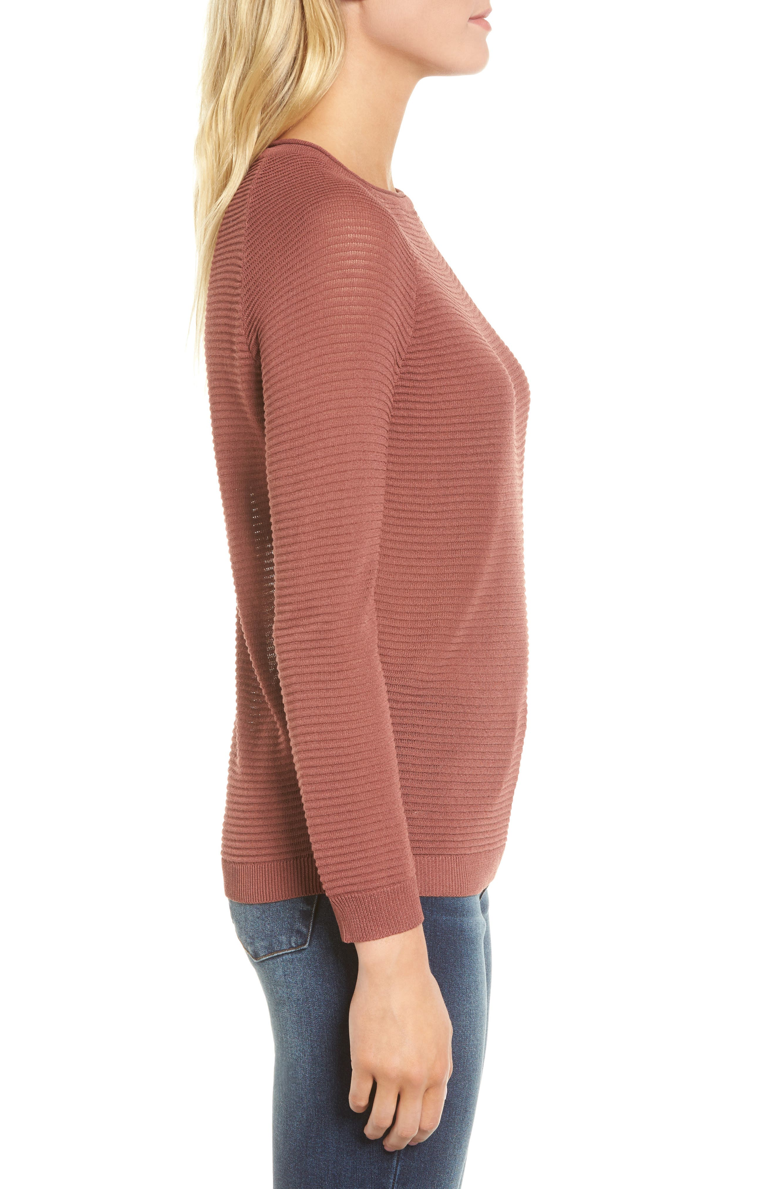 Ribbed Sweatshirt,                             Alternate thumbnail 4, color,                             Dusty Copper