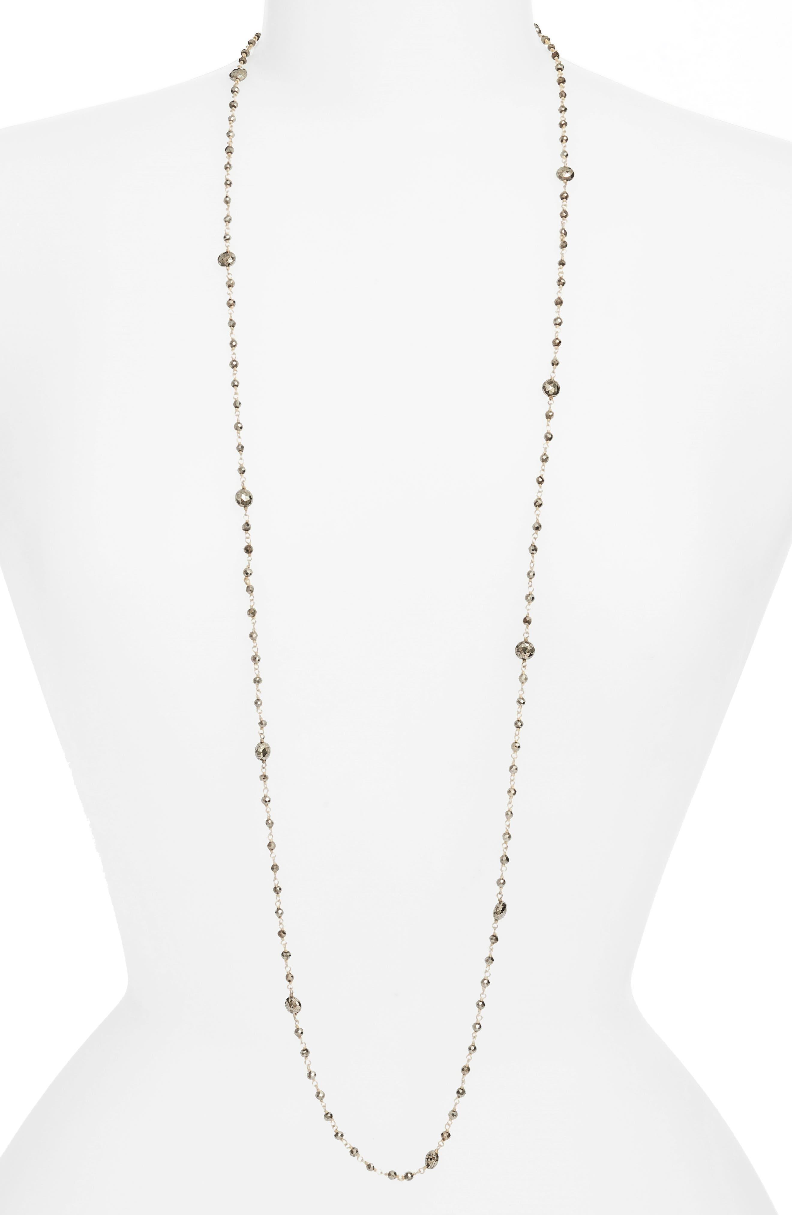 Diana Semiprecious Stone Satellite Necklace,                             Main thumbnail 1, color,                             Pyrite