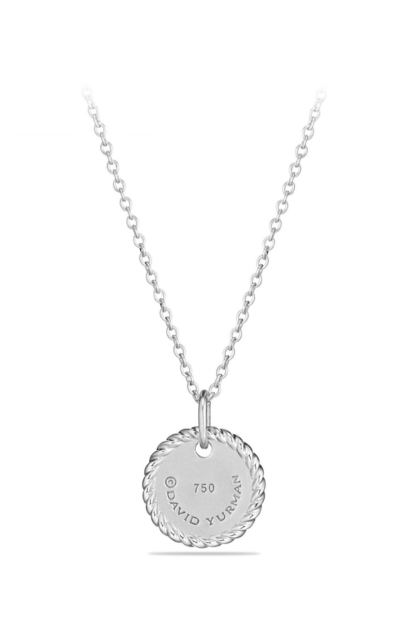 Initial Charm Necklace with Diamonds in 18K White Gold,                             Alternate thumbnail 2, color,                             B