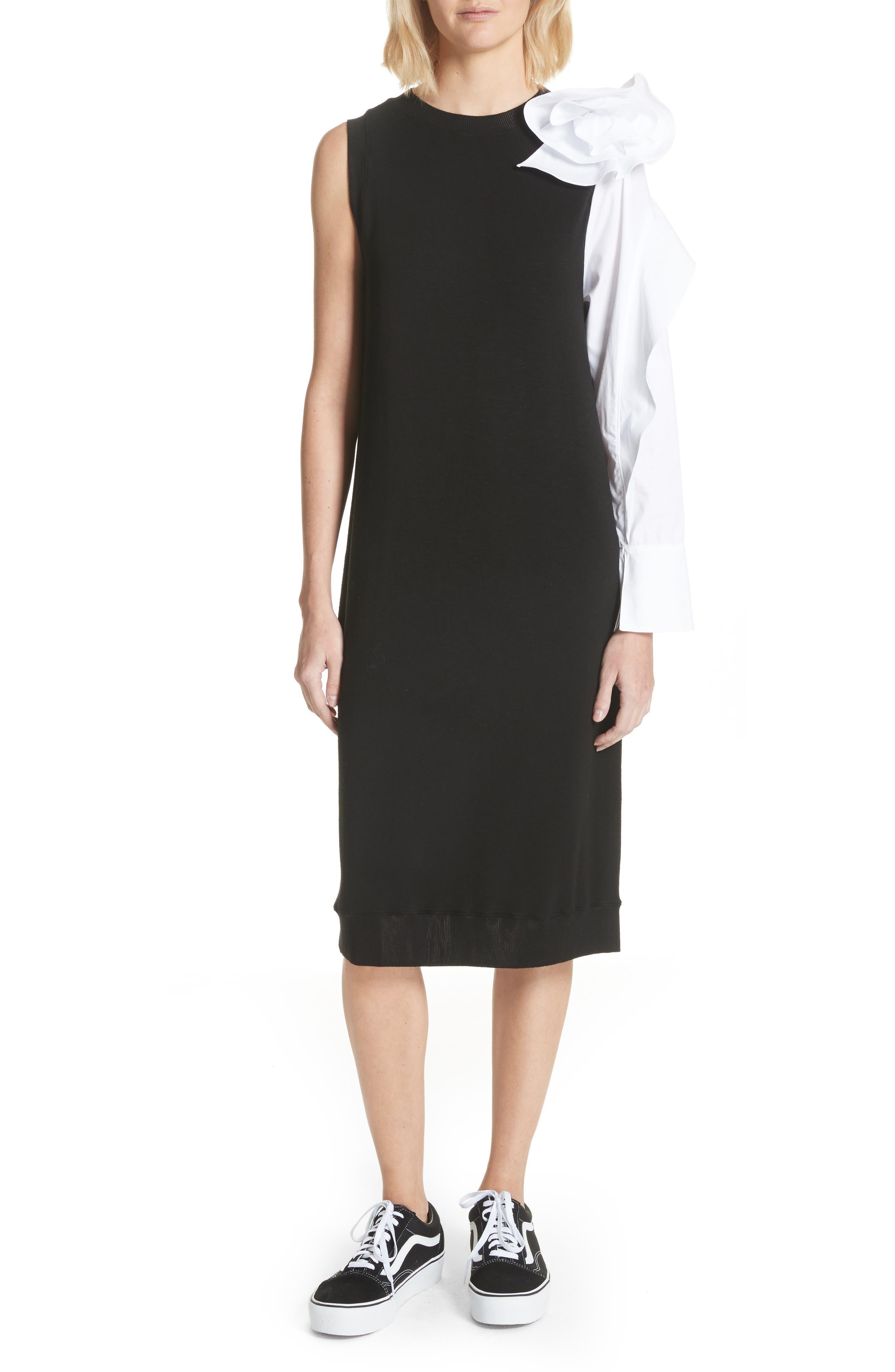Bow Sleeve Midi Dress,                             Main thumbnail 1, color,                             Black