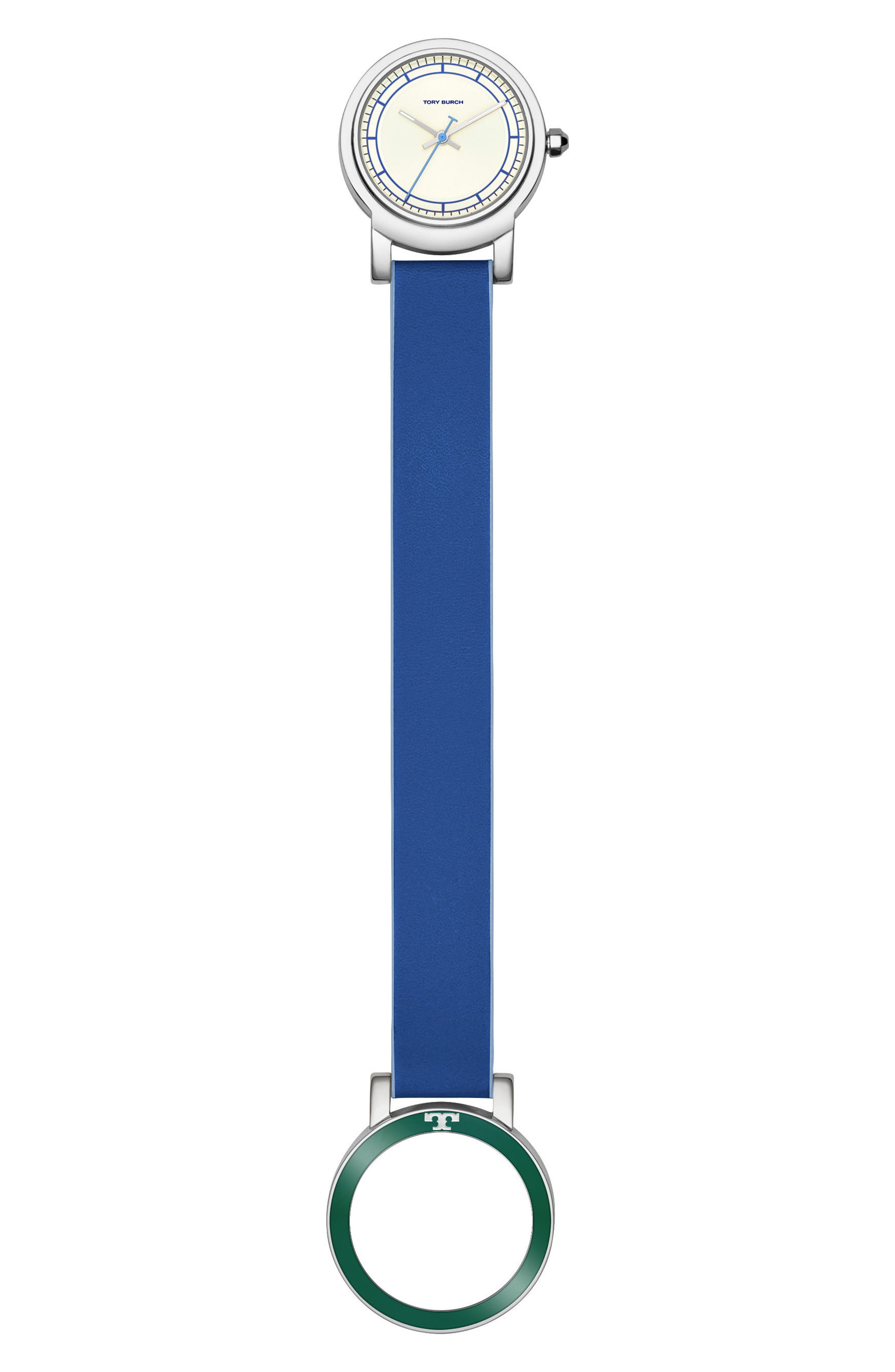 Ellsworth Leather Strap Watch, 36mm,                             Alternate thumbnail 2, color,                             Blue/ Cream/ Silver