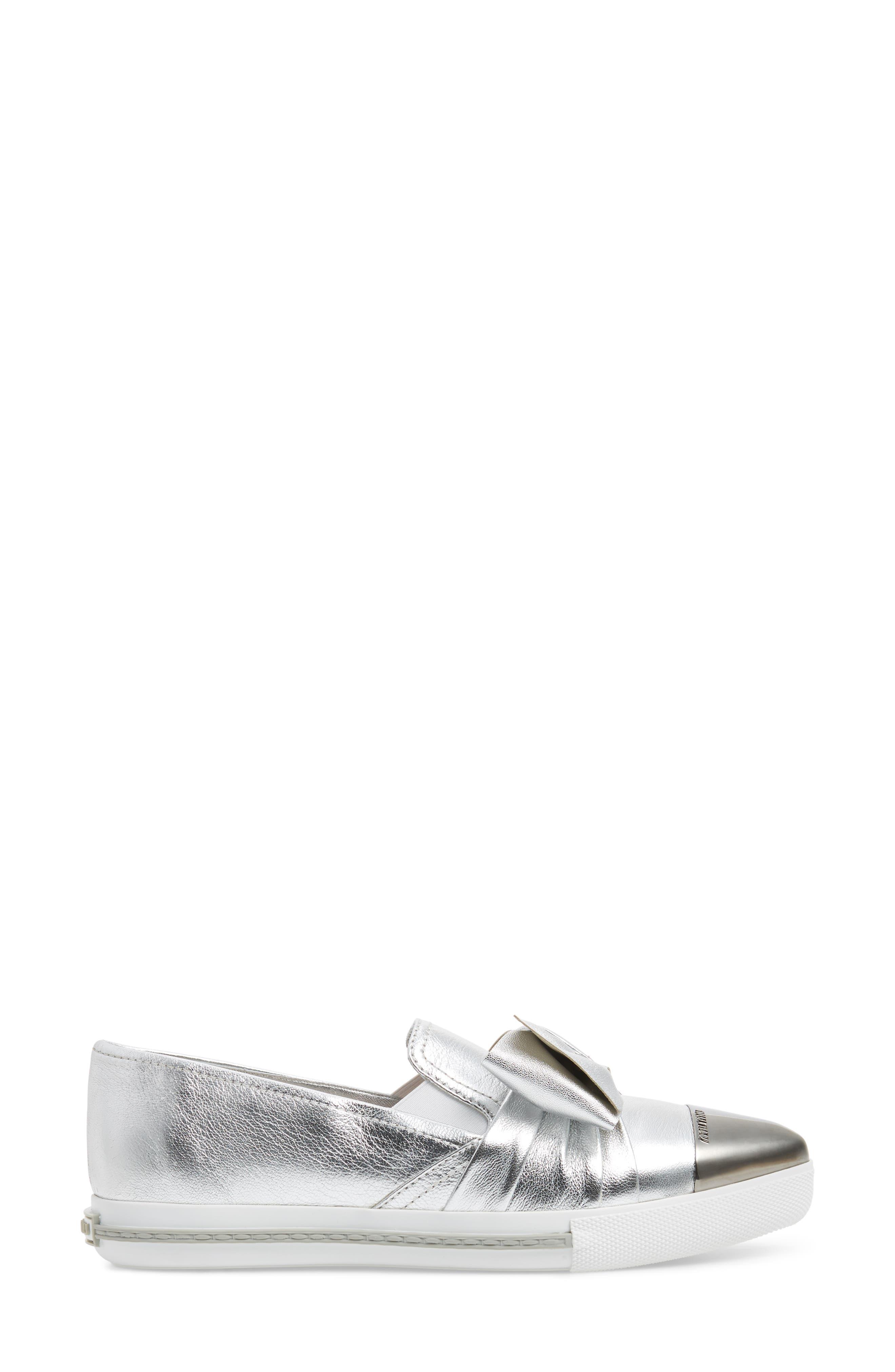 Cap Toe Hidden Wedge Sneaker,                             Alternate thumbnail 3, color,                             Silver
