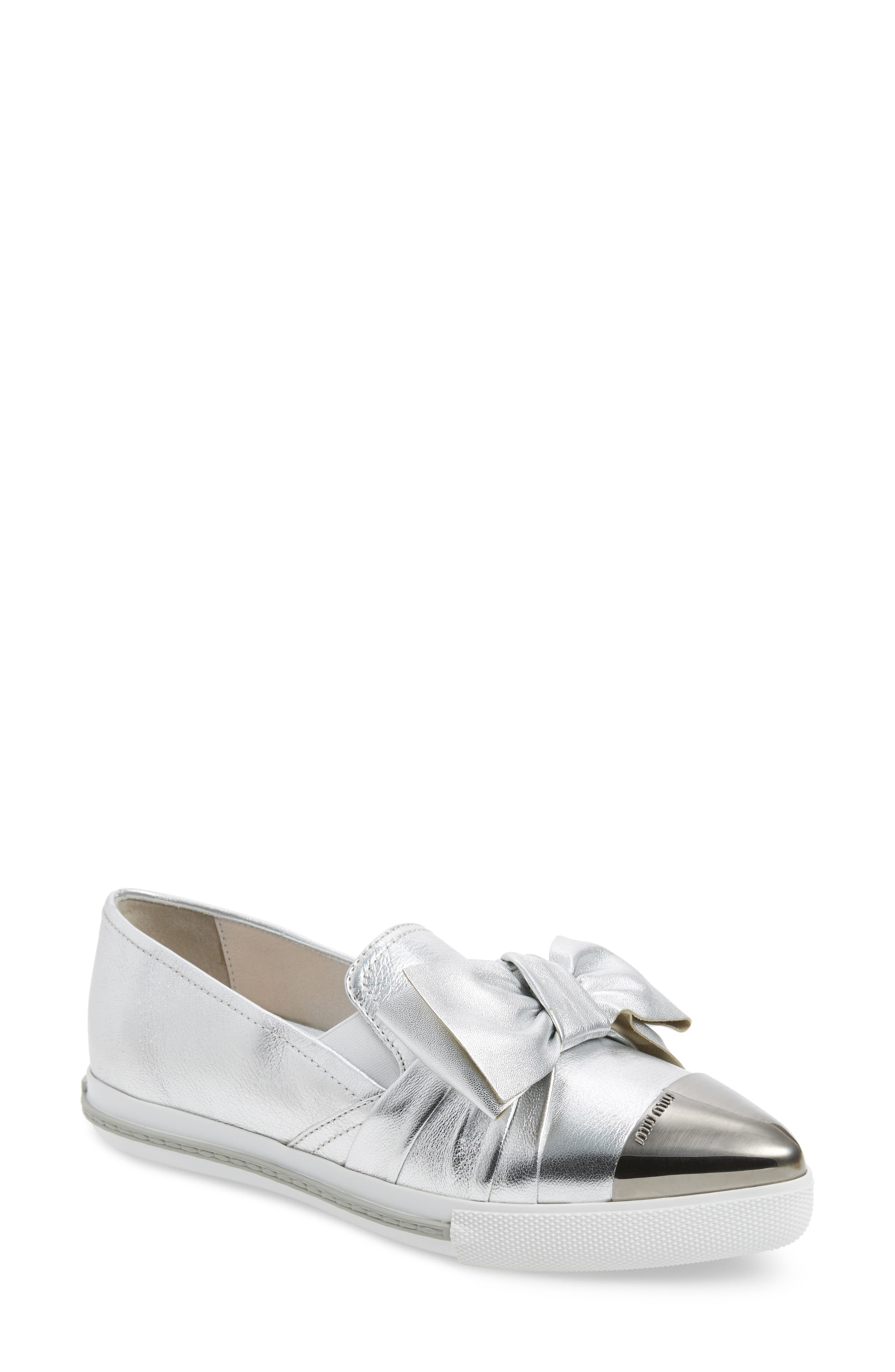 Miu Miu Cap Toe Hidden Wedge Sneaker (Women)