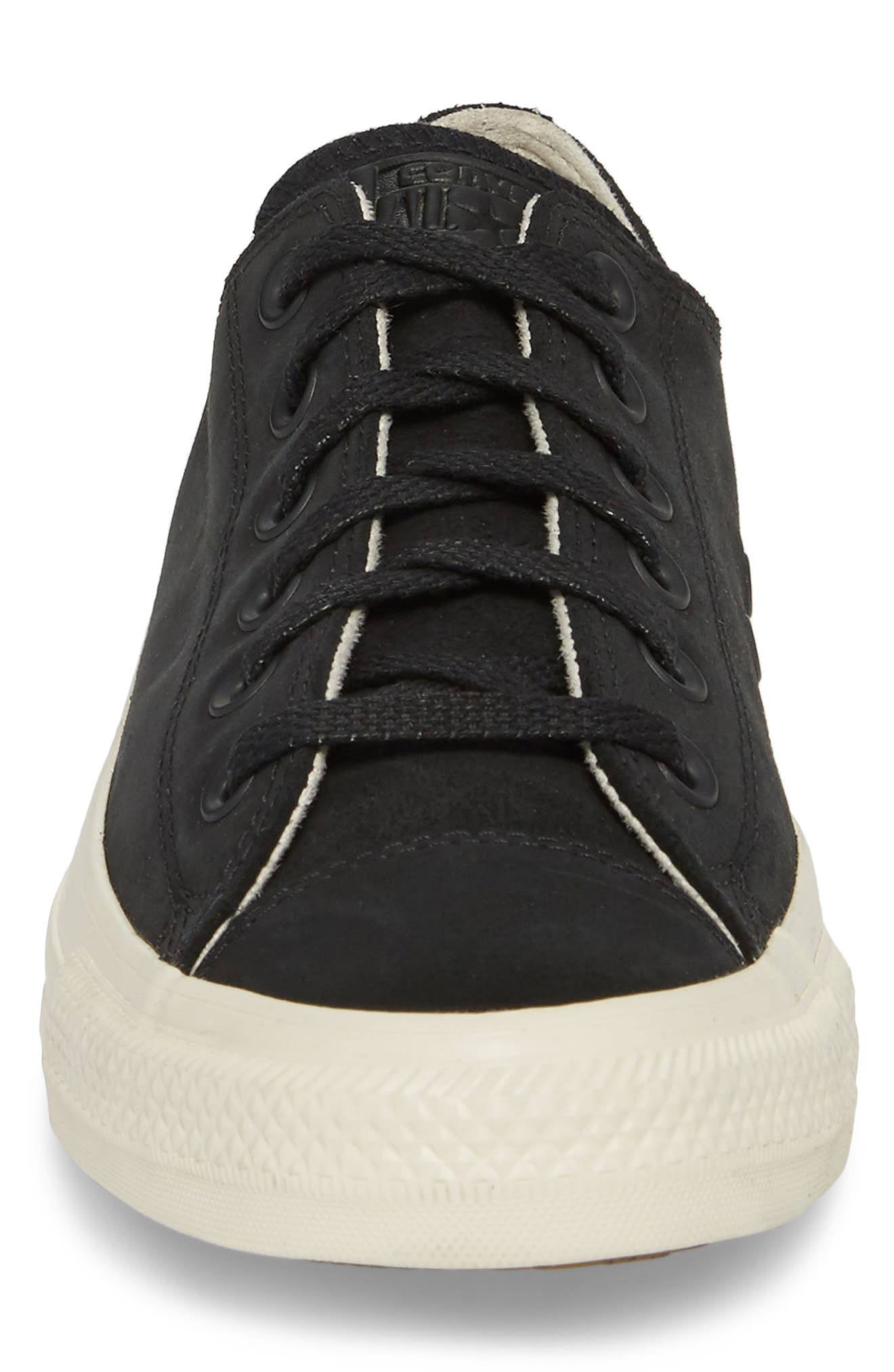 Chuck Taylor<sup>®</sup> All Star<sup>®</sup> Low Top Sneaker,                             Alternate thumbnail 4, color,                             Black Leather