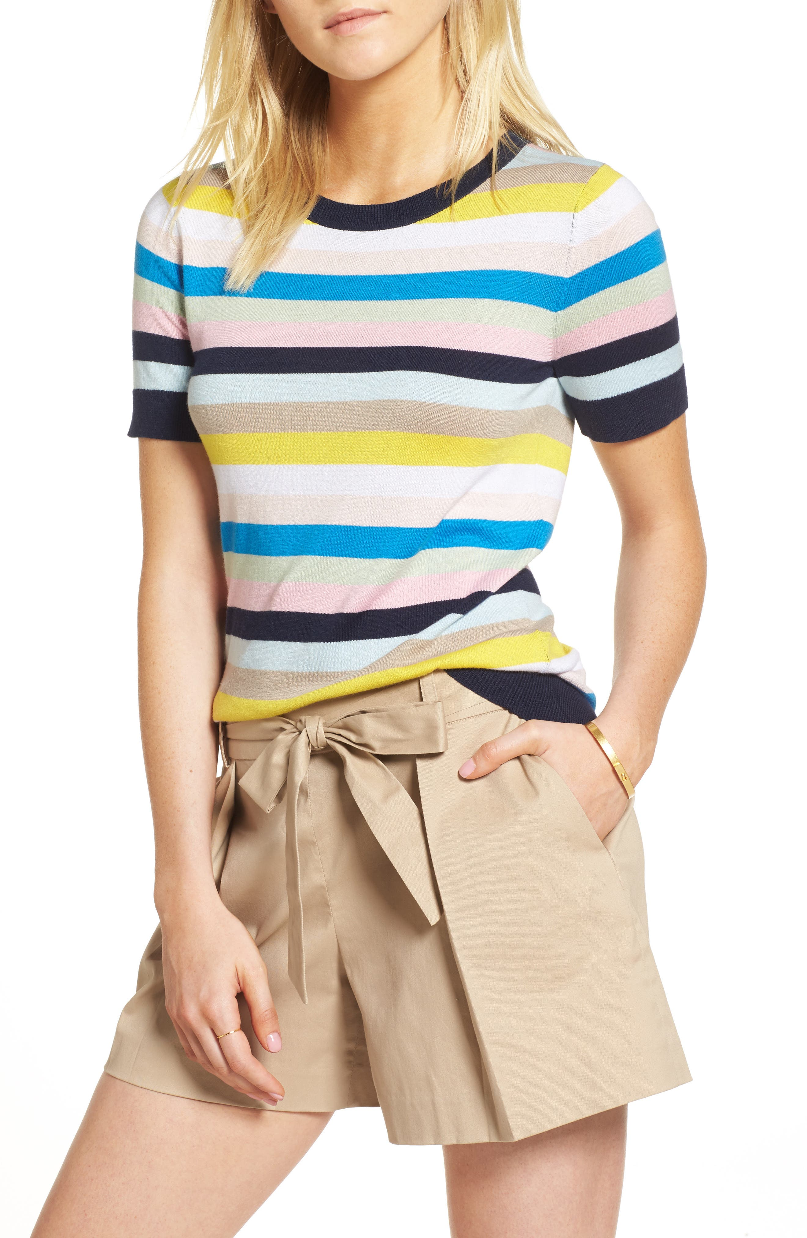 Crewneck Sweater,                             Main thumbnail 1, color,                             Blue Multi Stripe