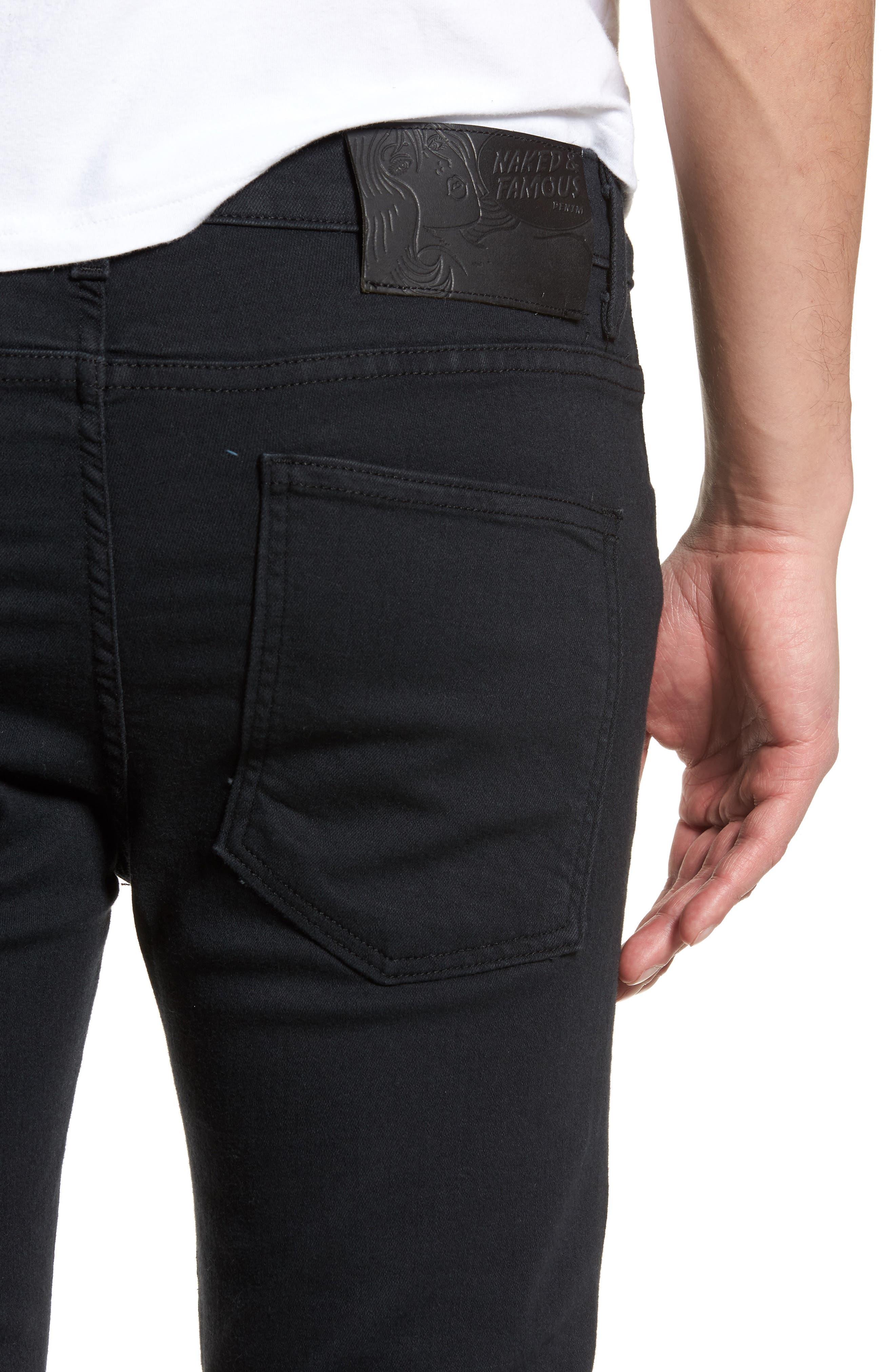 Super Skinny Guy Skinny Fit Jeans,                             Alternate thumbnail 4, color,                             Black