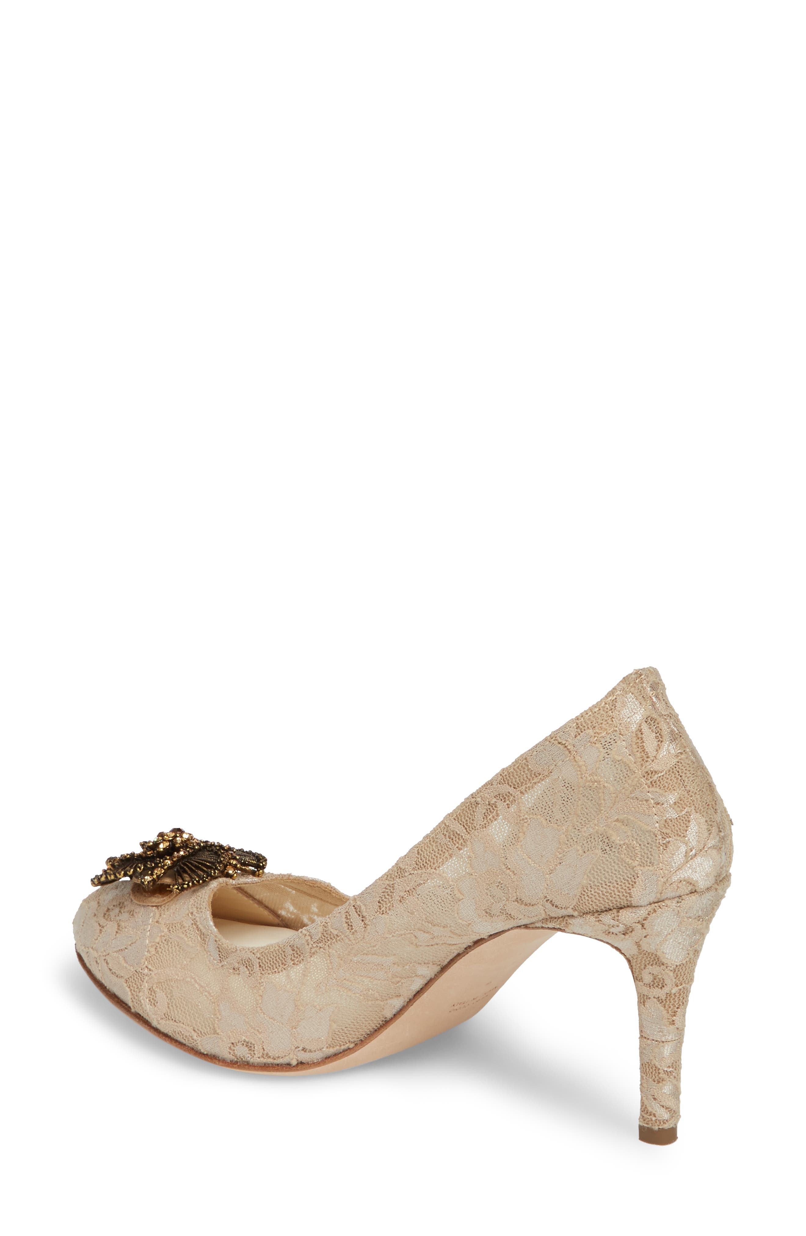 Valerie Embellished Pump,                             Alternate thumbnail 2, color,                             Taupe Lace