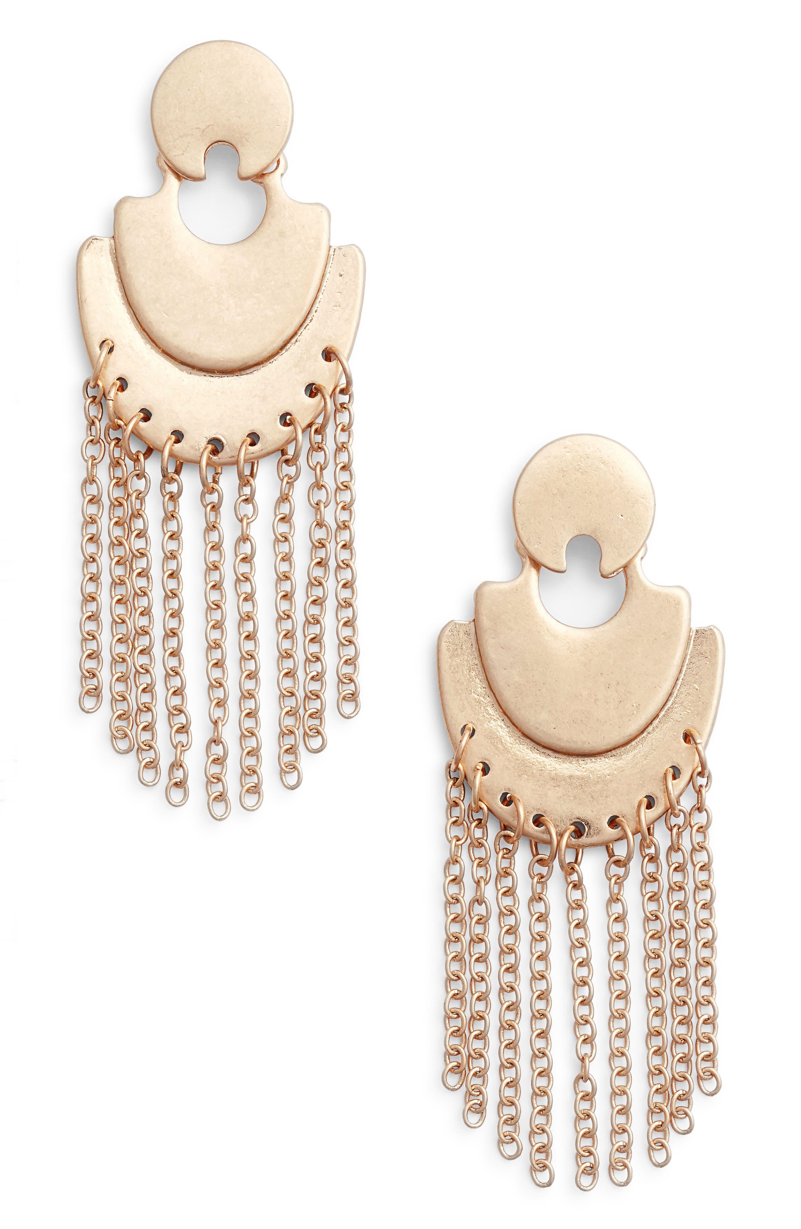 Treasure & Bond Double Arc Fringe Chandelier Earrings