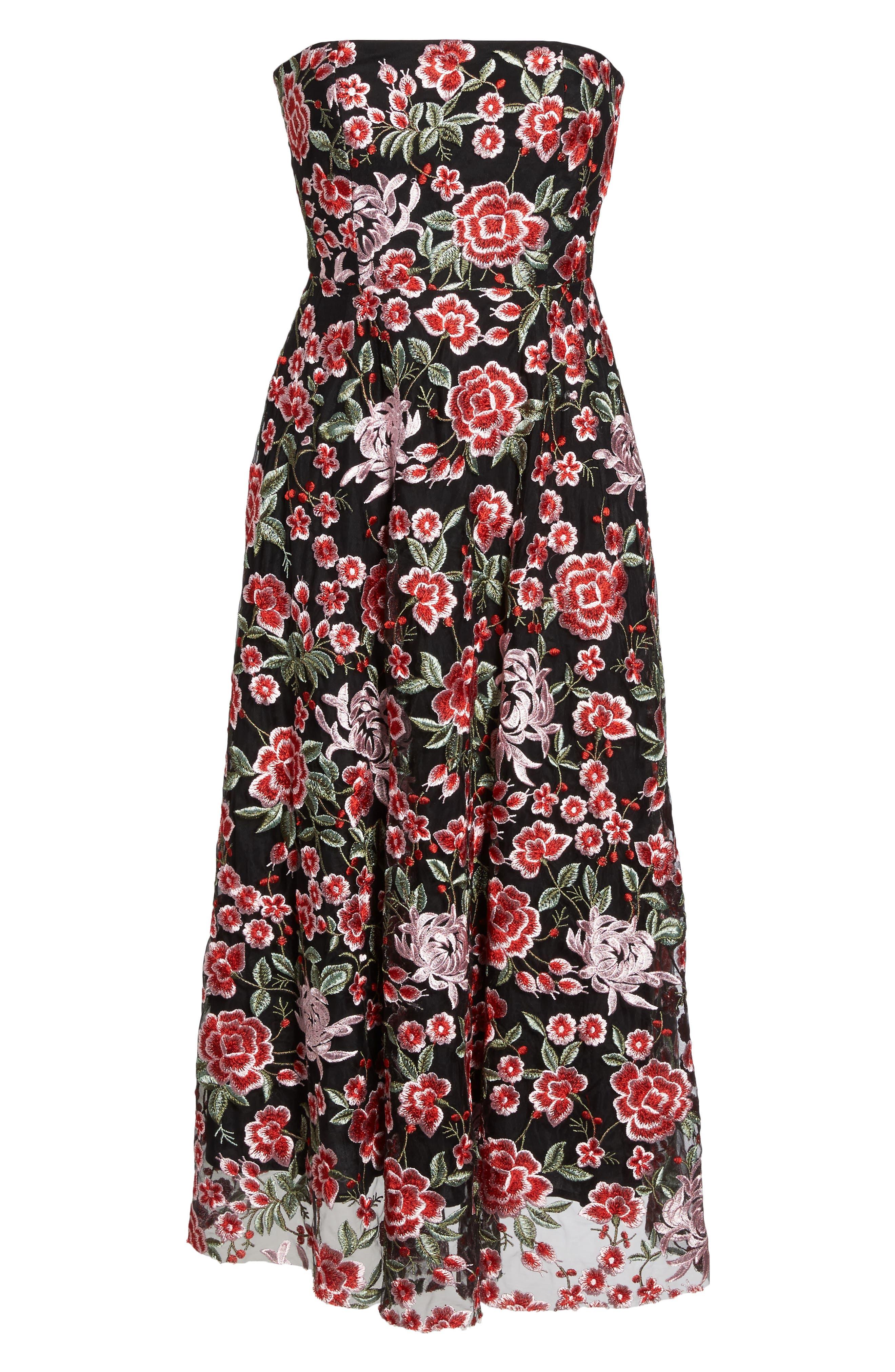 Cosette Embroidered Strapless Dress,                             Alternate thumbnail 6, color,                             Black Multi