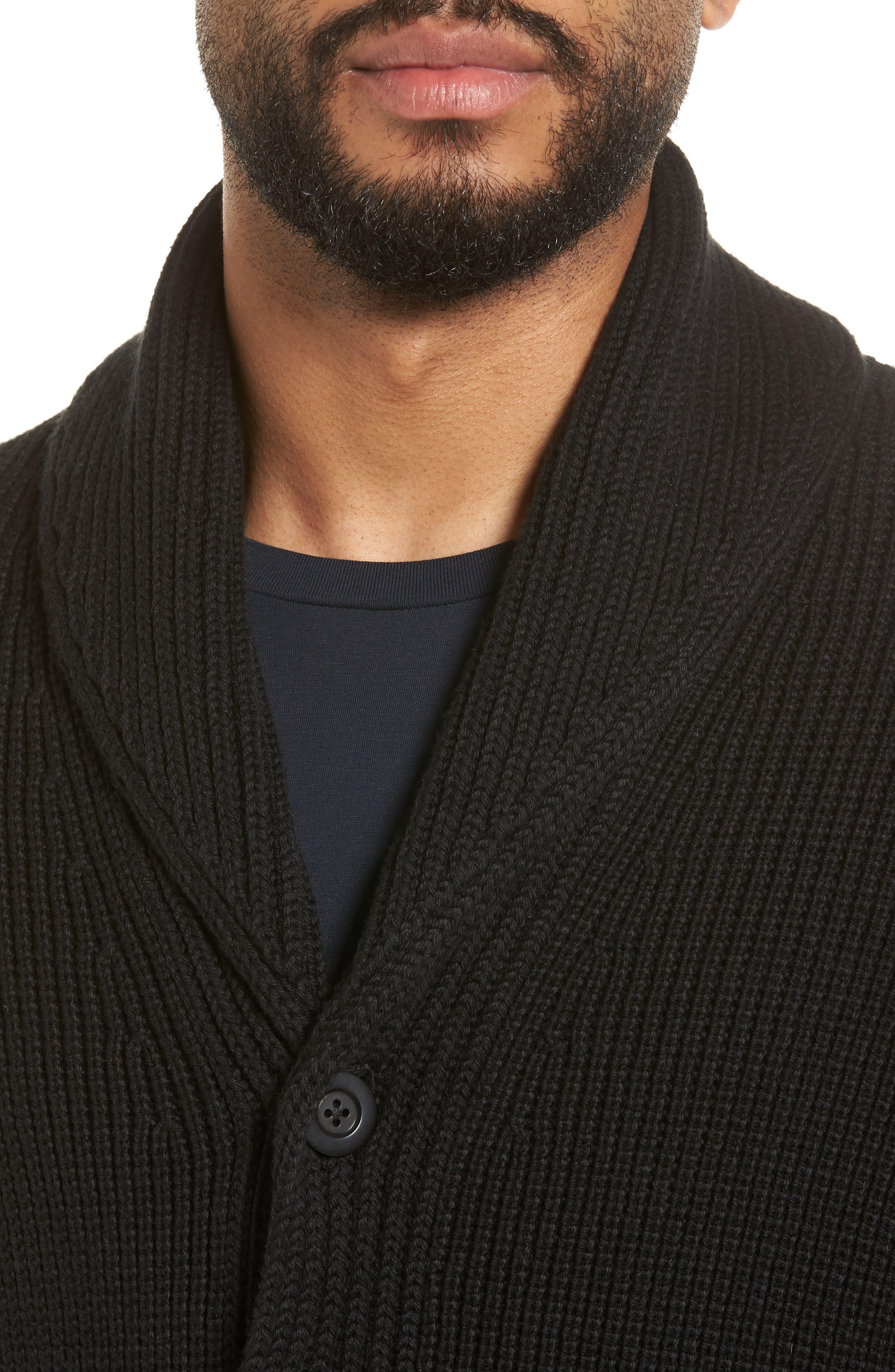 Shawl Collar Cardigan,                             Alternate thumbnail 4, color,                             Black