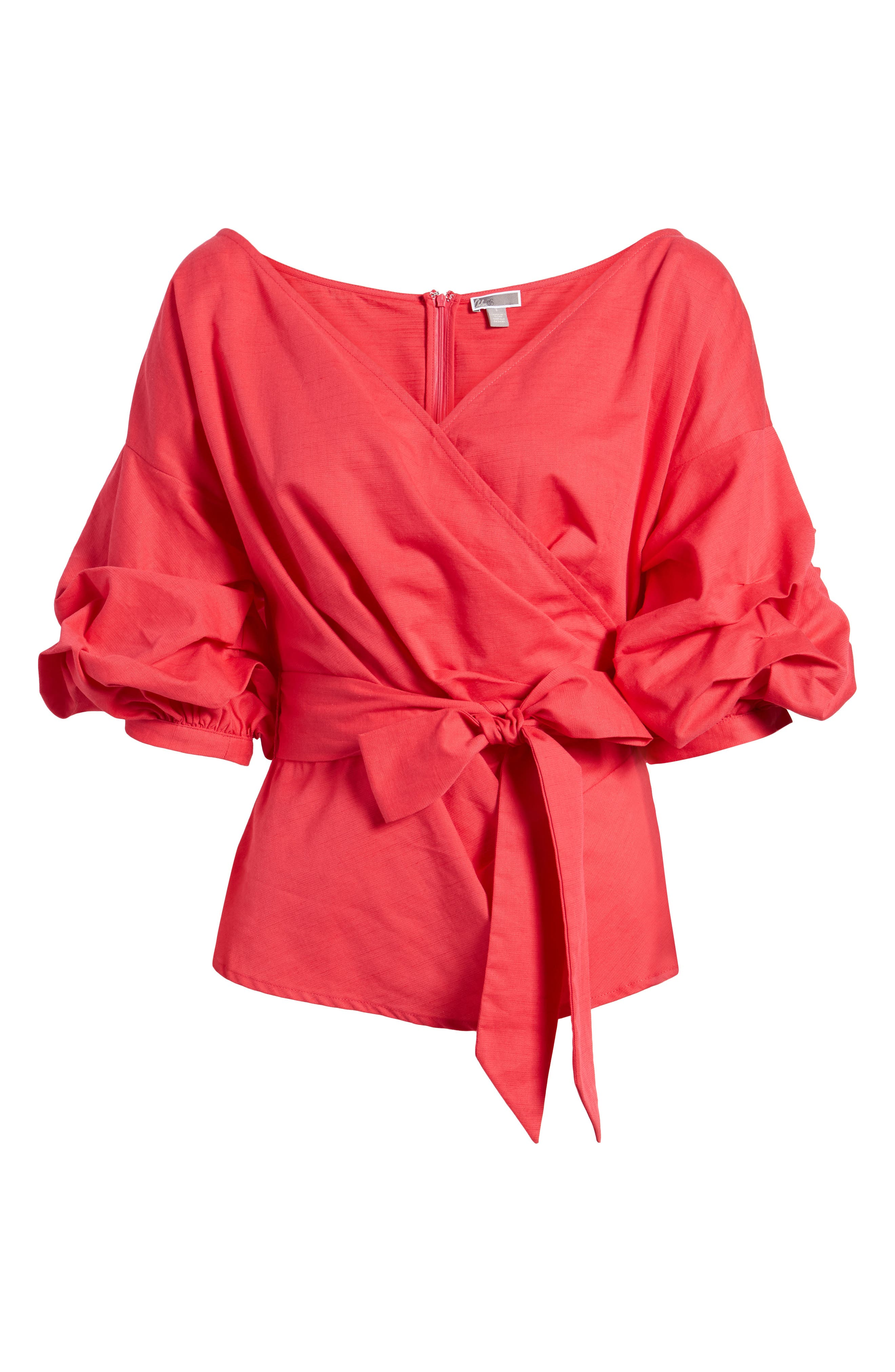 Wrap Top,                             Alternate thumbnail 6, color,                             Red Barberry
