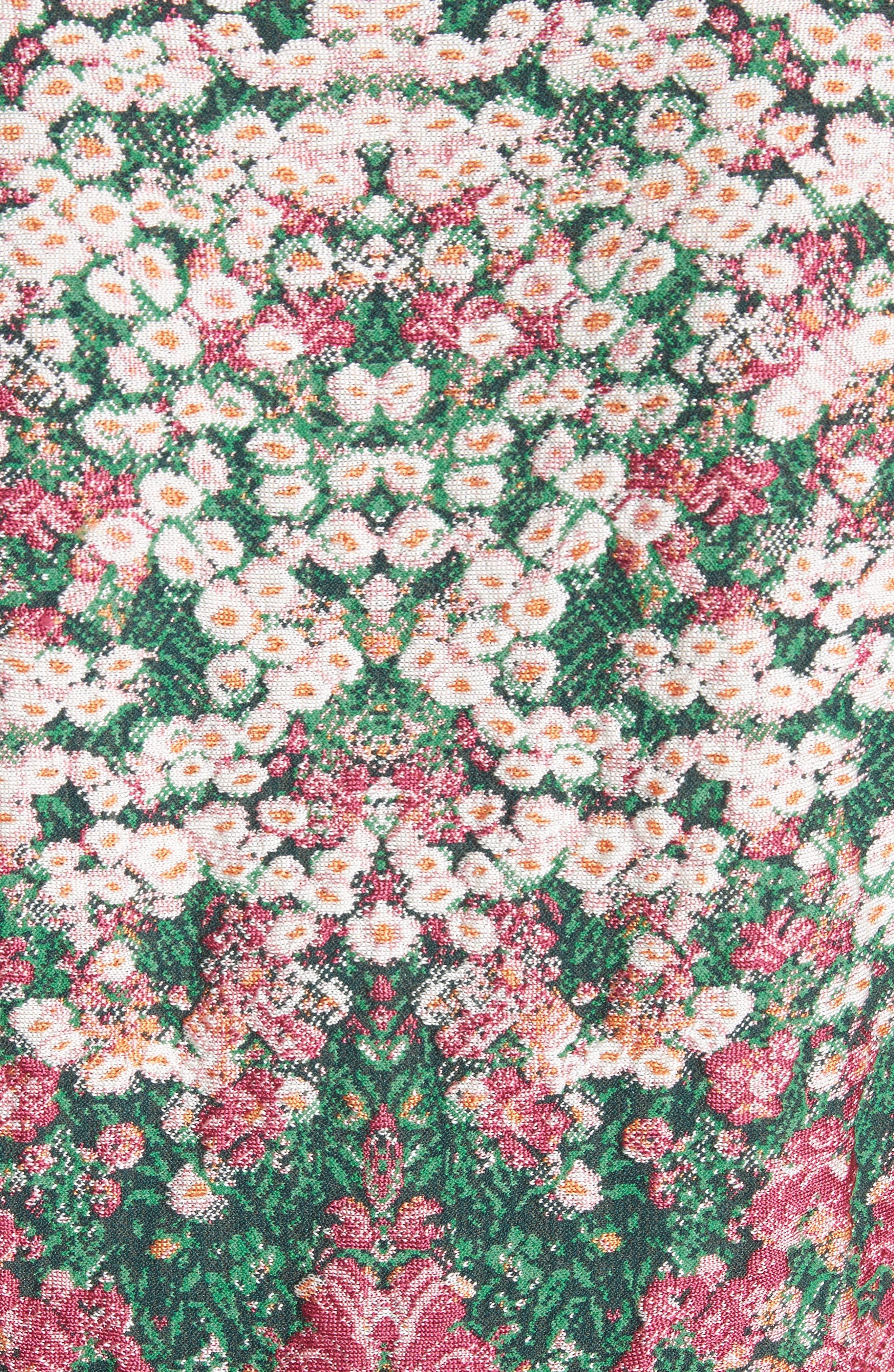 Floral Jacquard Knit Fit & Flare Dress,                             Alternate thumbnail 5, color,                             Multicolor