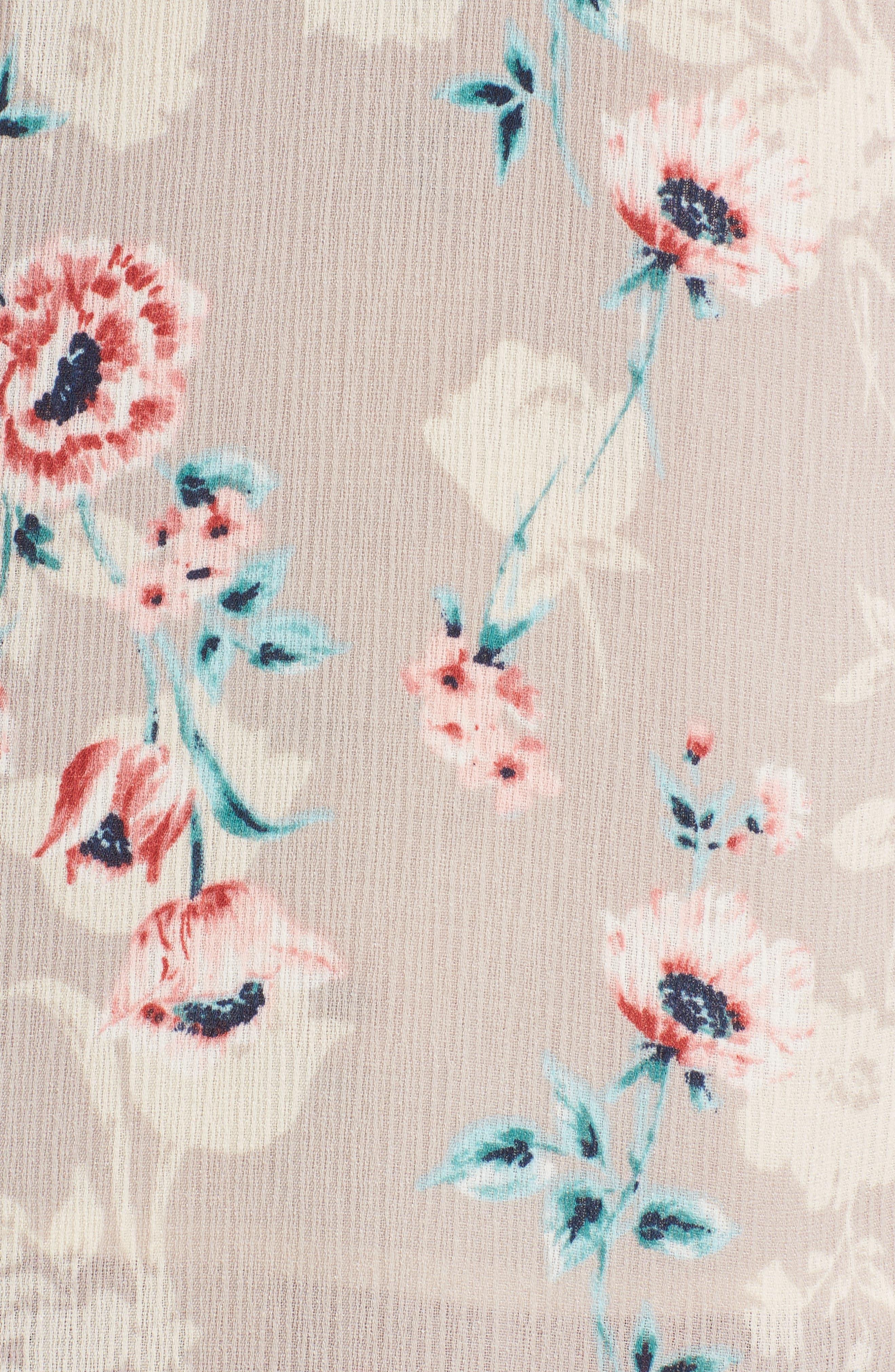 Floral Print Wrap Maxi Dress,                             Alternate thumbnail 5, color,                             Taupe-Rose Floral