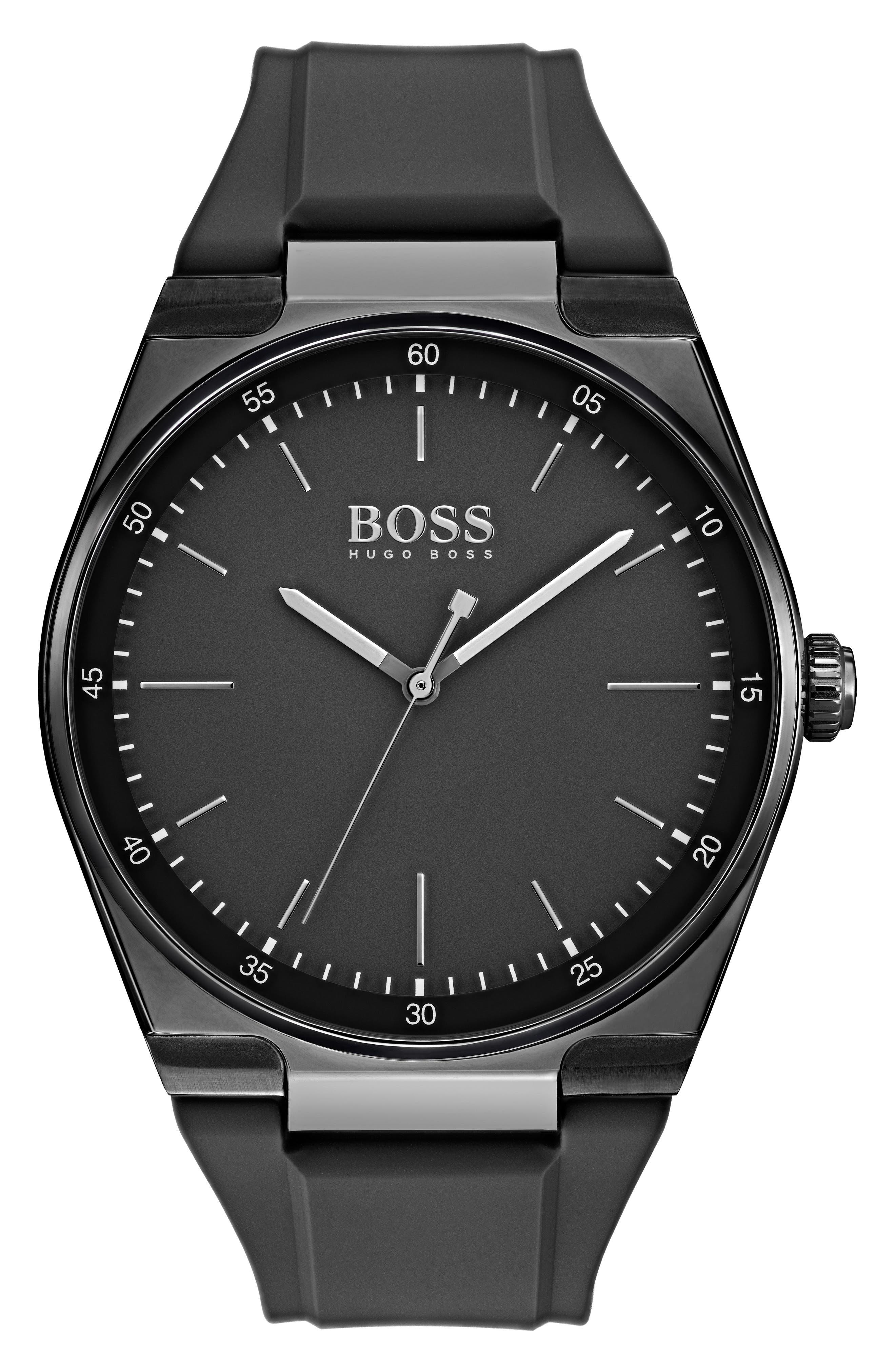 Magnitude Rubber Strap Watch, 42mm,                             Main thumbnail 1, color,                             Black/ Black