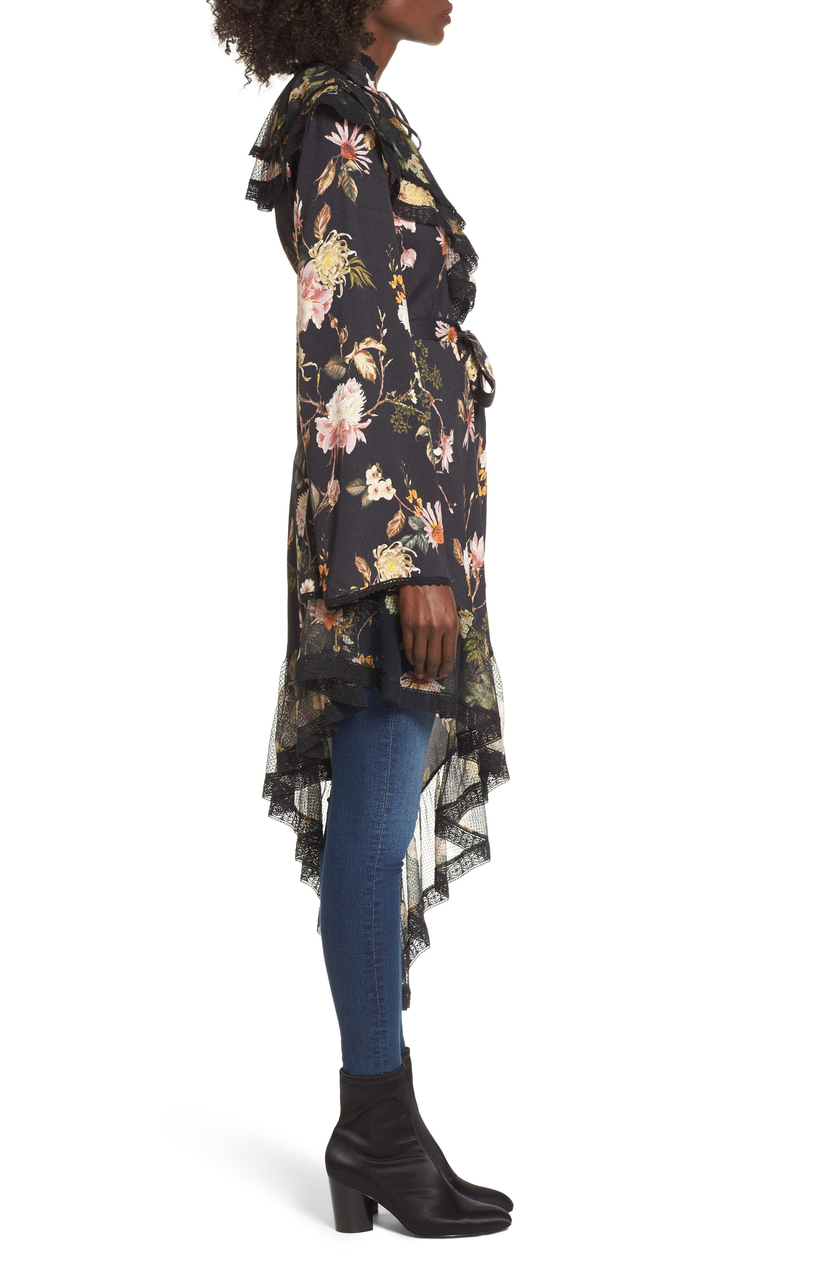 Ray Asymmetrical Midi Dress,                             Alternate thumbnail 4, color,                             Noir Floral