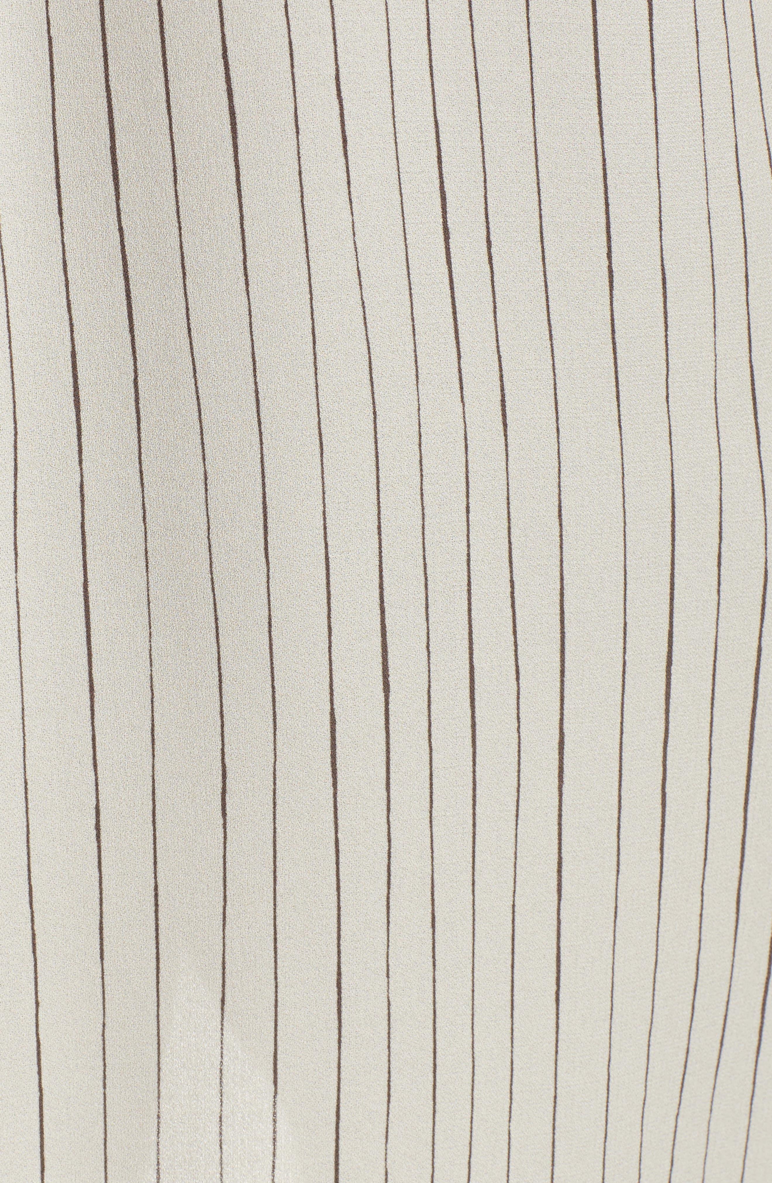 Stripe Silk Georgette Crepe Long Shirt,                             Alternate thumbnail 5, color,                             Bone