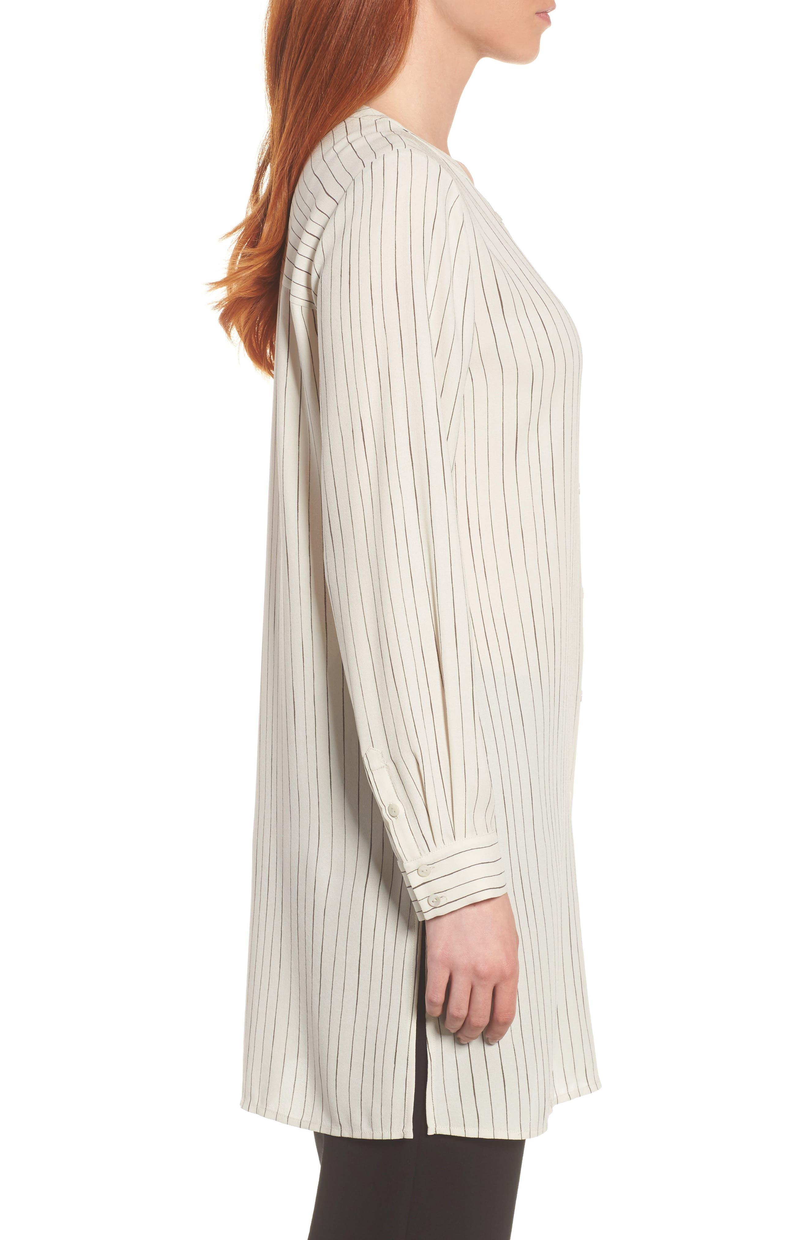 Stripe Silk Georgette Crepe Long Shirt,                             Alternate thumbnail 3, color,                             Bone