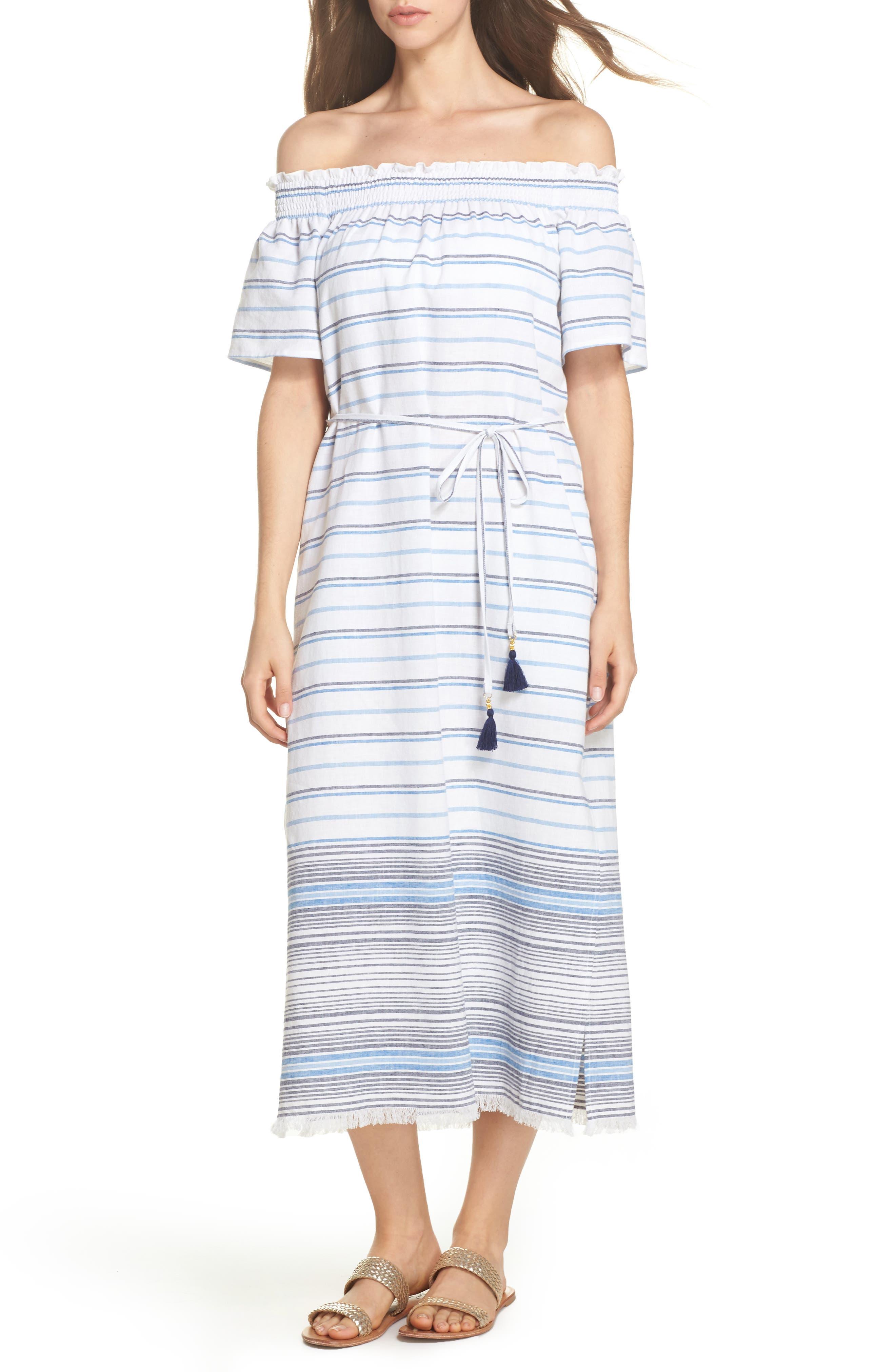 Stripe Linen & Cotton Off the Shoulder Cover-Up Dress,                         Main,                         color, White