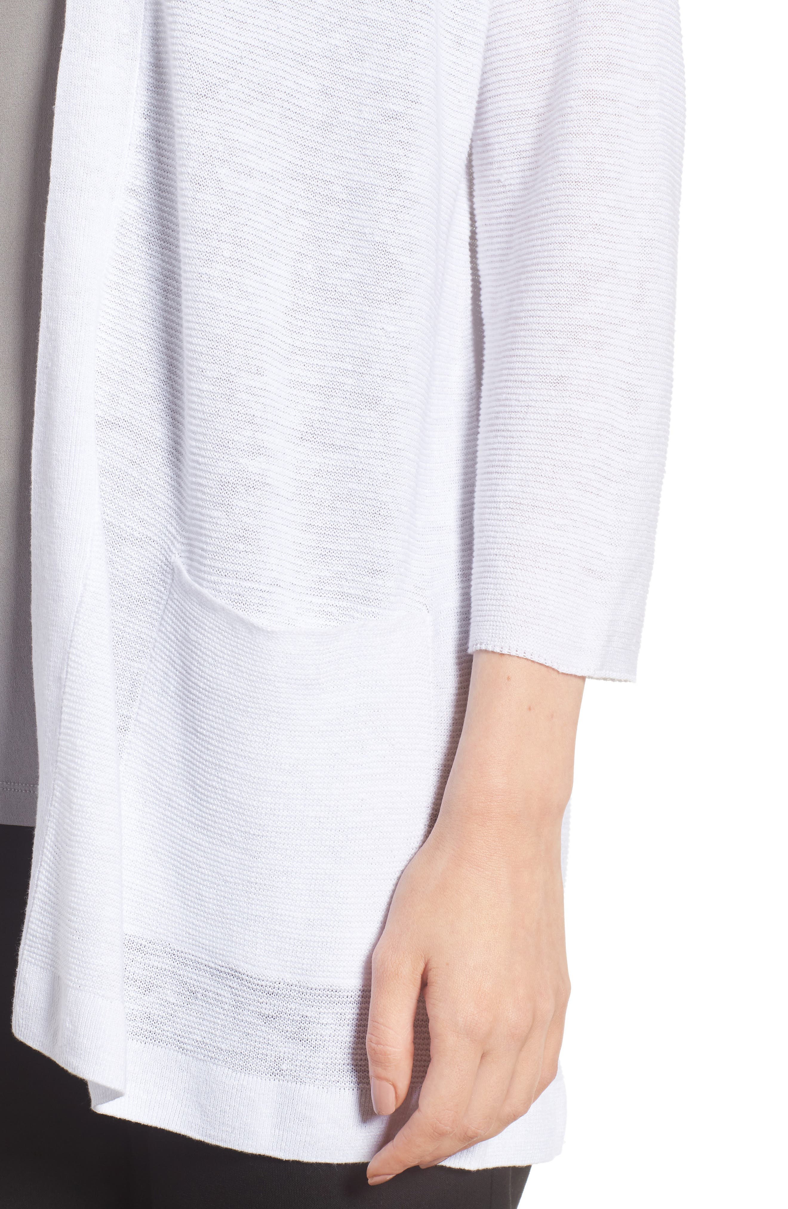 Boxy Organic Linen Cardigan,                             Alternate thumbnail 4, color,                             White