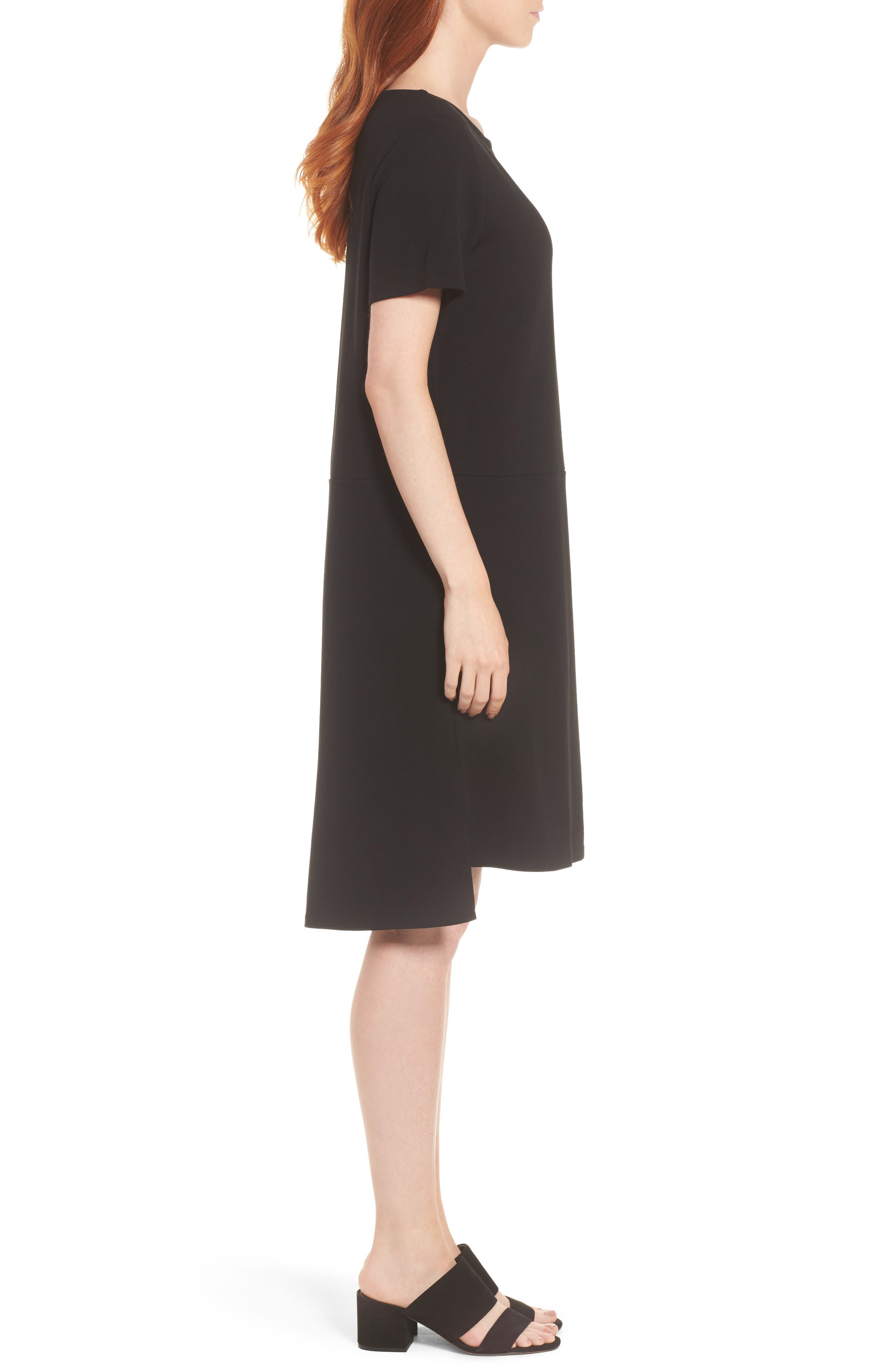 Tencel<sup>®</sup> Lyocell Blend Knit Shift Dress,                             Alternate thumbnail 3, color,                             Black