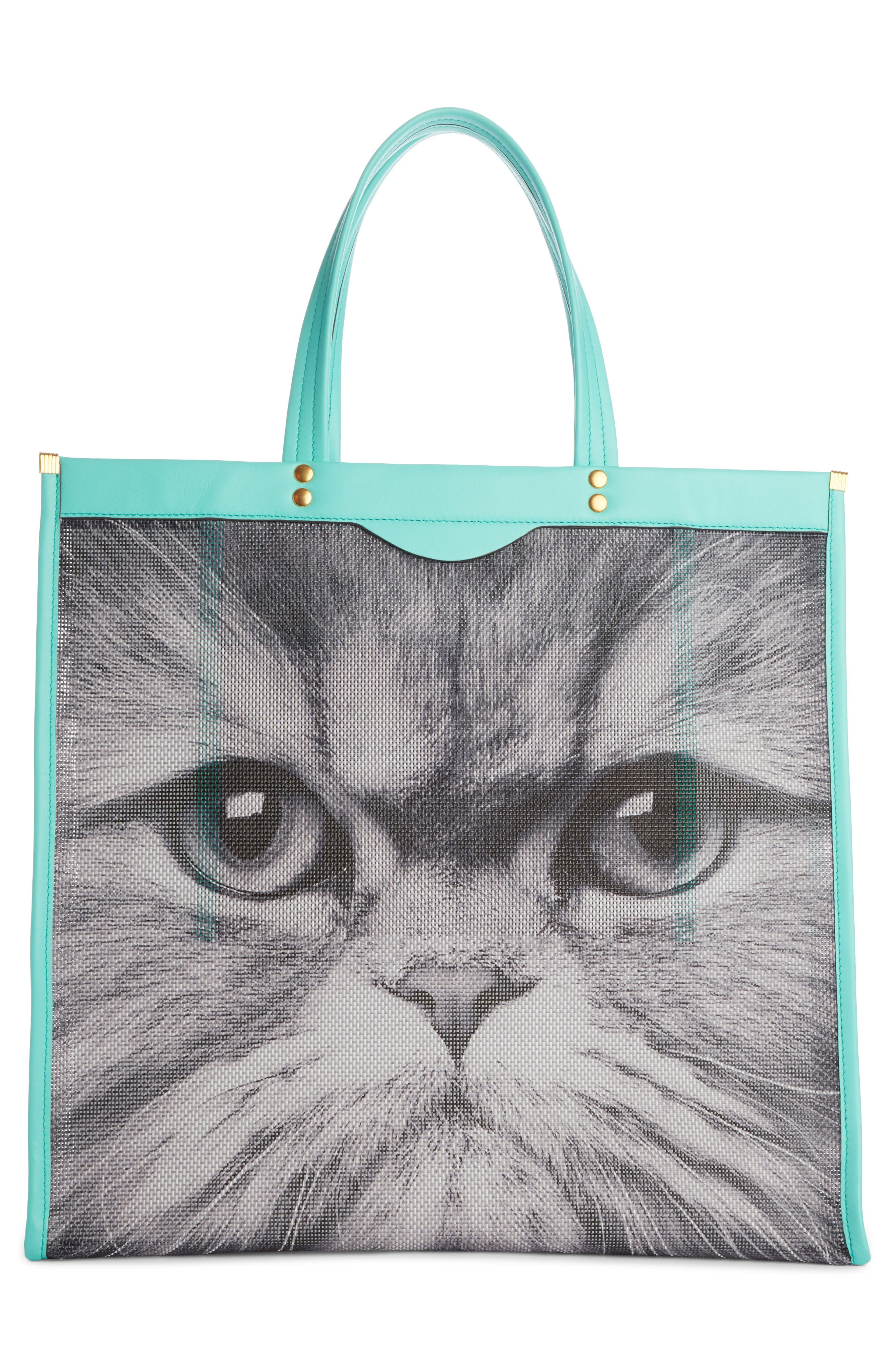 Kitsch Cat Mesh Tote,                             Alternate thumbnail 2, color,                             Chalk