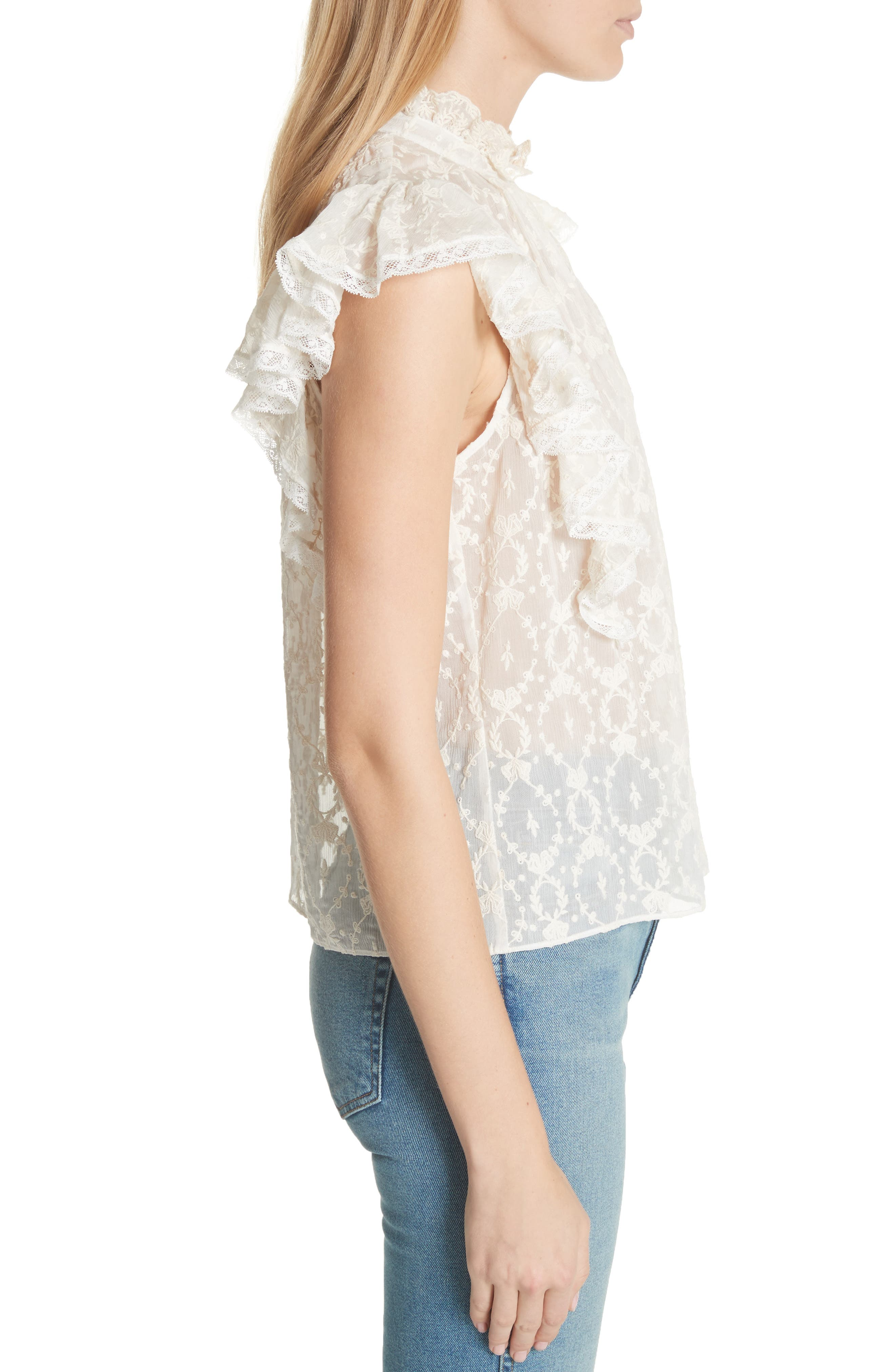 Lily Ruffle Embroidered Silk Top,                             Alternate thumbnail 3, color,                             Snow