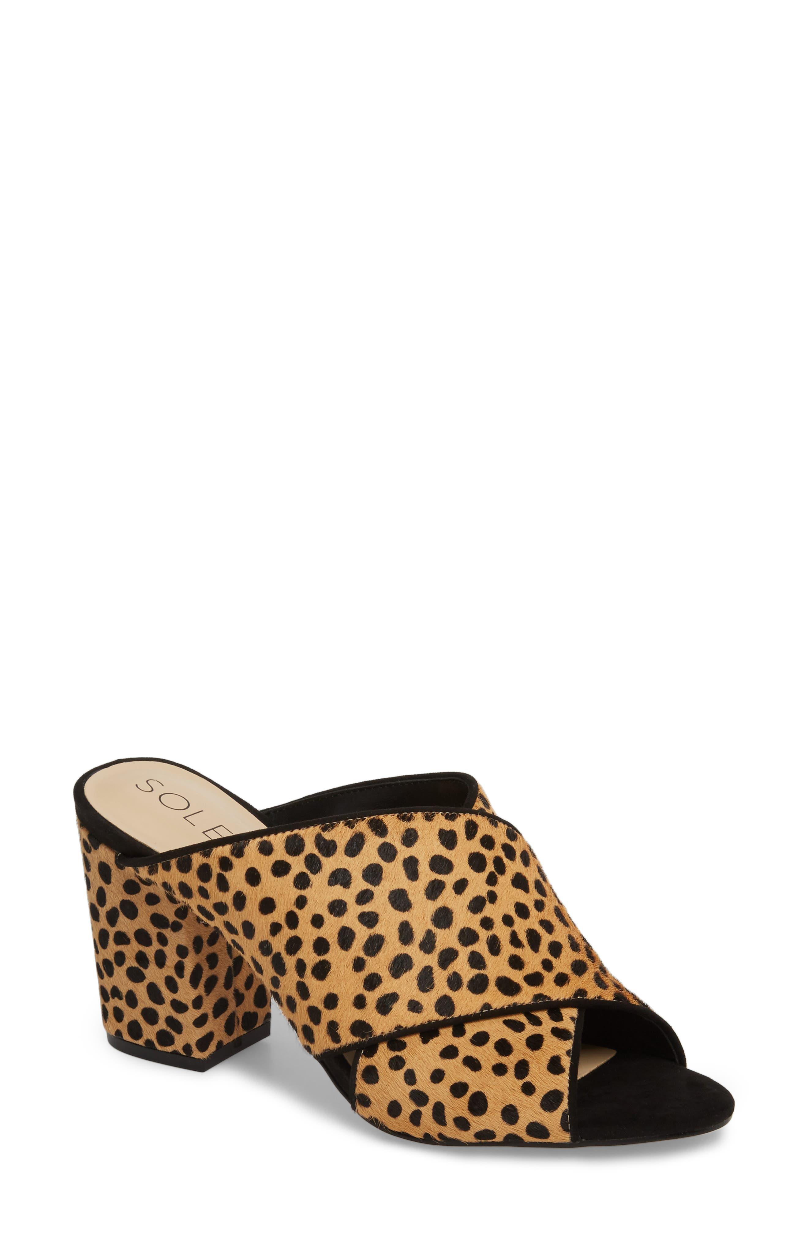 Luella Genuine Calf Hair Slide,                             Main thumbnail 1, color,                             Cheetah Dot Haircalf