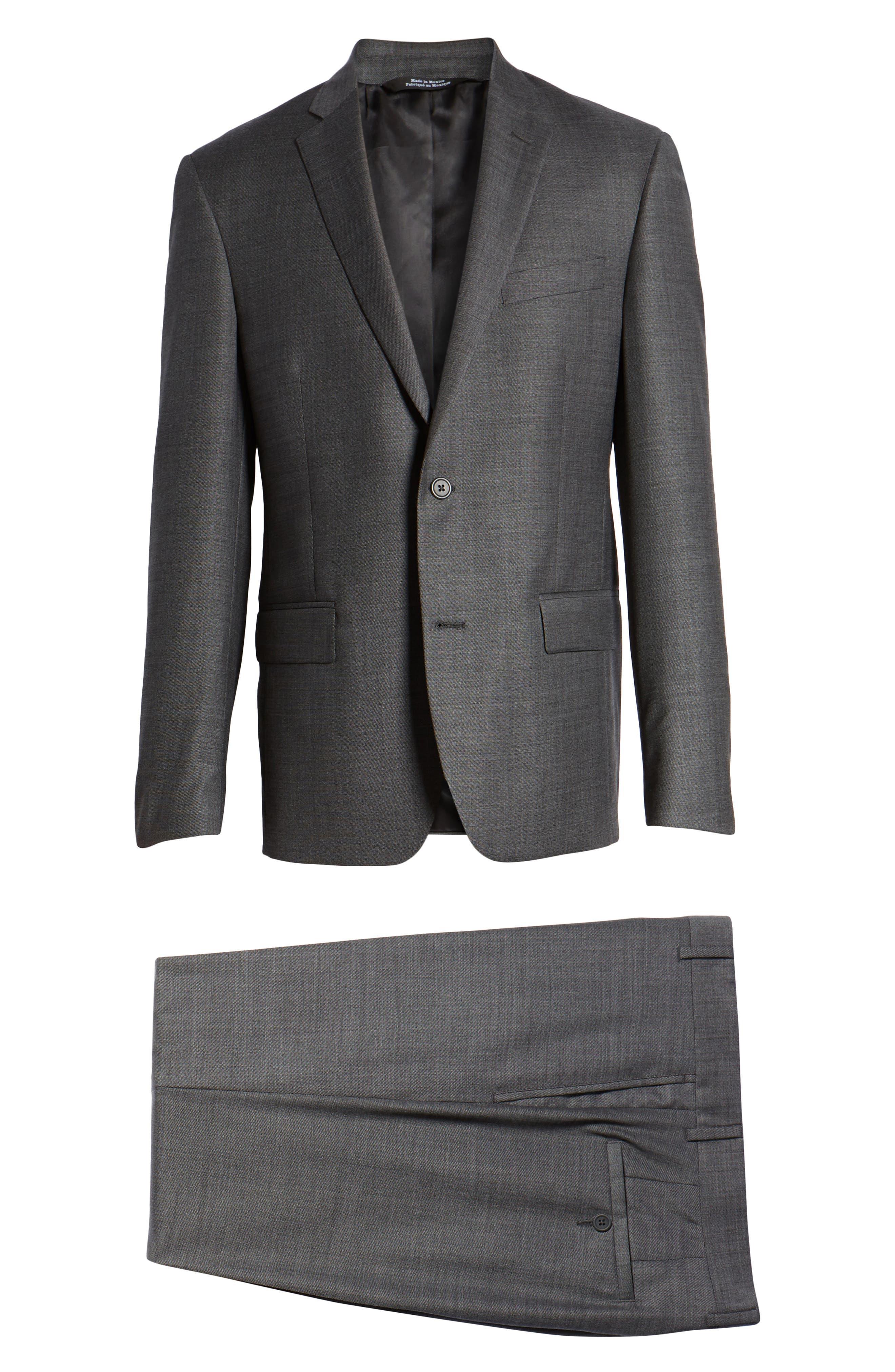 Trim Fit Sharkskin Wool Suit,                             Alternate thumbnail 8, color,                             Mid Char