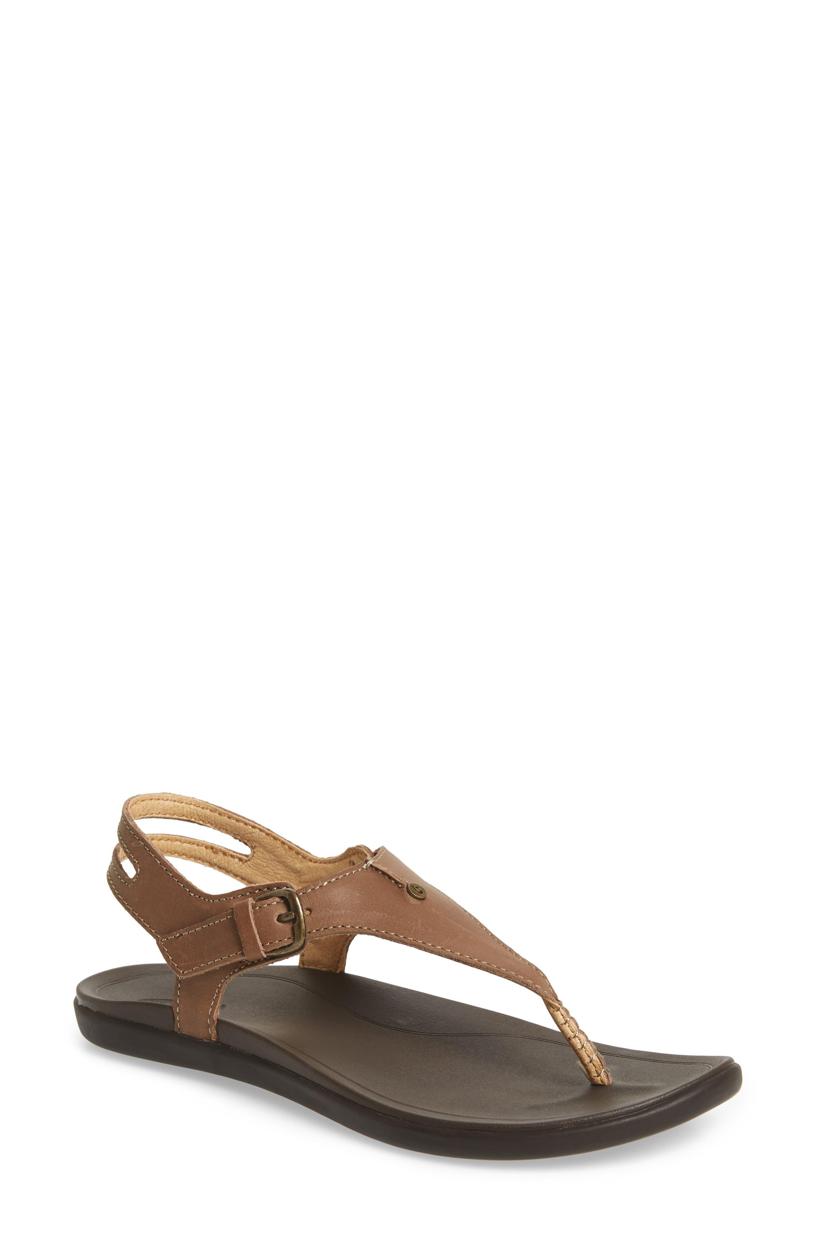 'Eheu V-Strap Sandal,                         Main,                         color, Clay/ Dark Java Leather