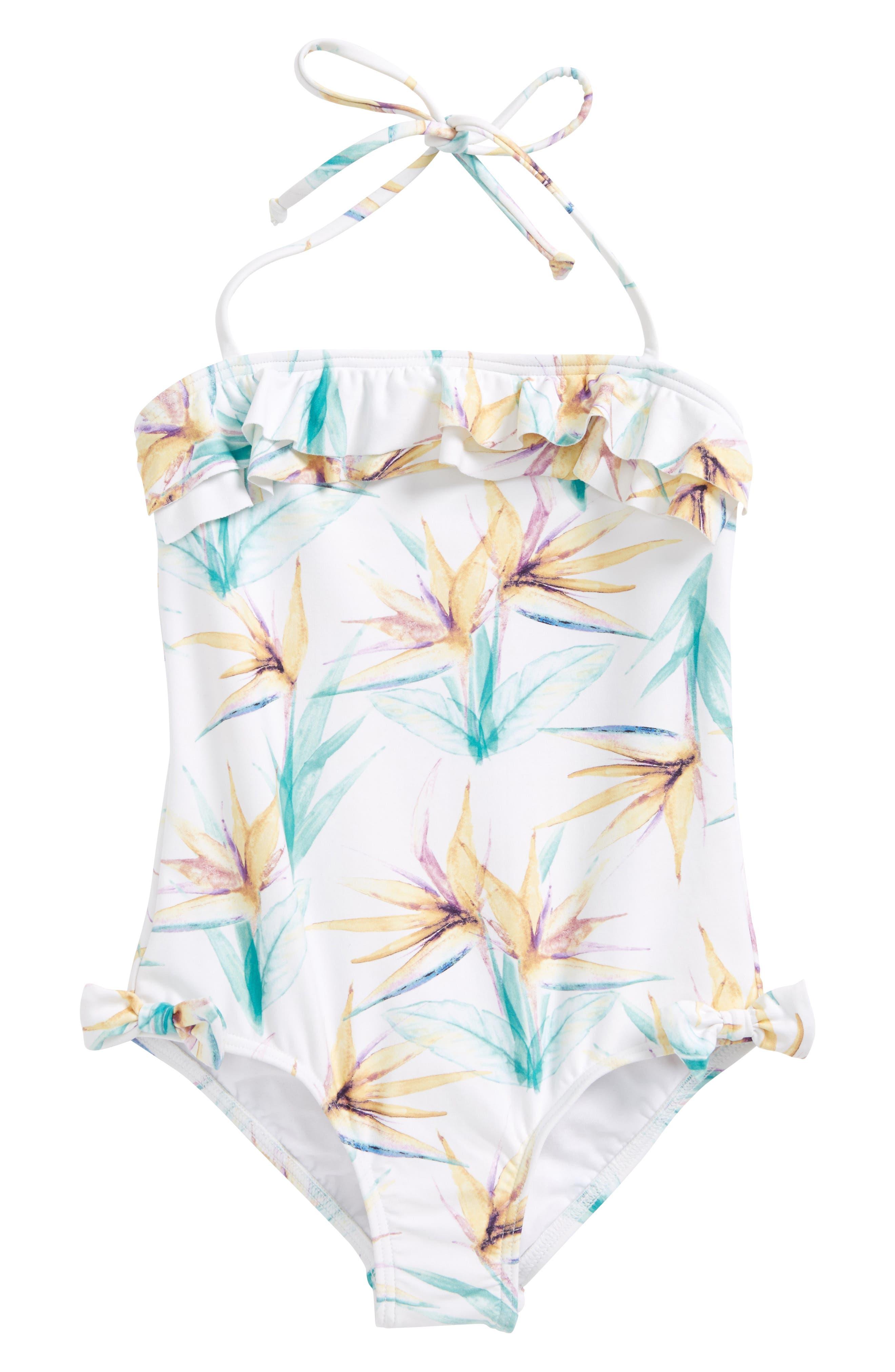 Paradise Ruffle One-Piece Swimsuit,                             Main thumbnail 1, color,                             White