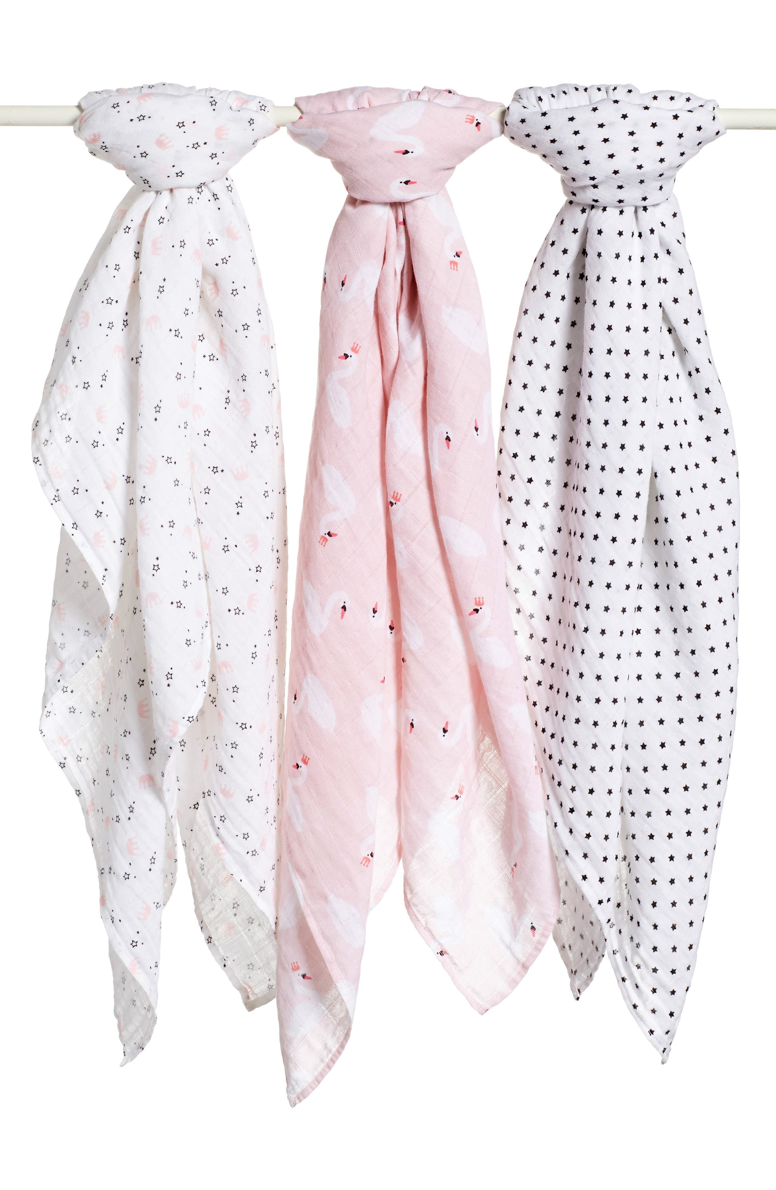 3-Pack Muslin Swaddles,                             Main thumbnail 1, color,                             Swan Pack