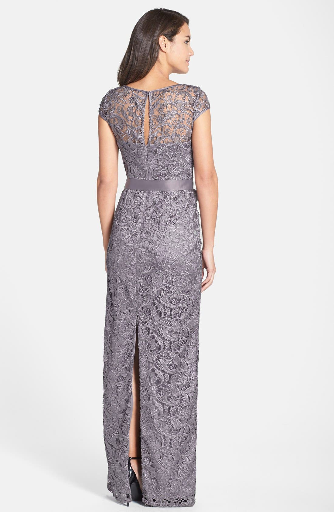 Alternate Image 2  - Adrianna Papell Lace Gown (Regular & Petite)