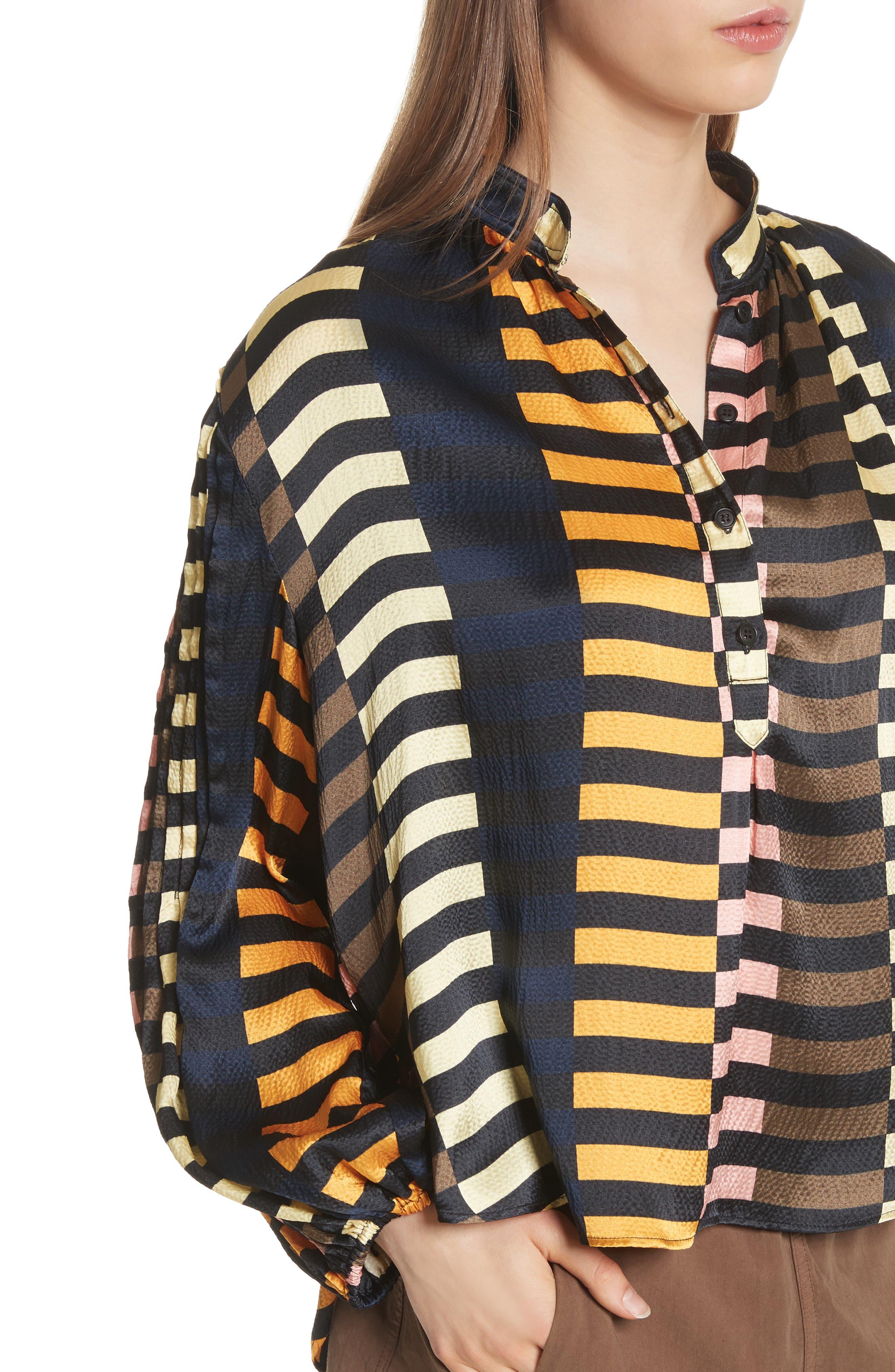 Nuevo Bravo Stripe Silk Top,                             Alternate thumbnail 4, color,                             Majorelle Print