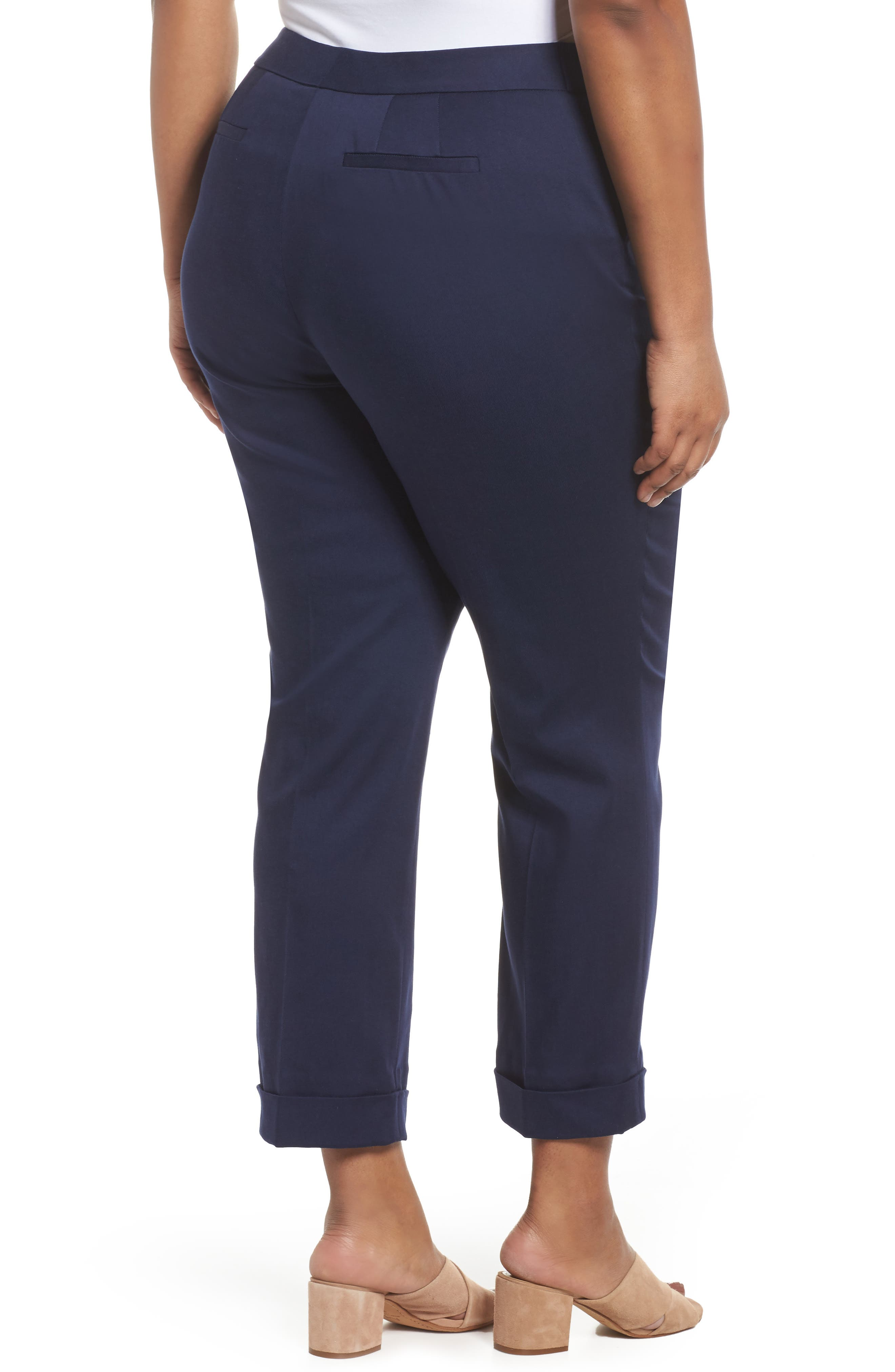 Stretch Twill Ankle Pants,                             Alternate thumbnail 2, color,                             Navy Peacoat