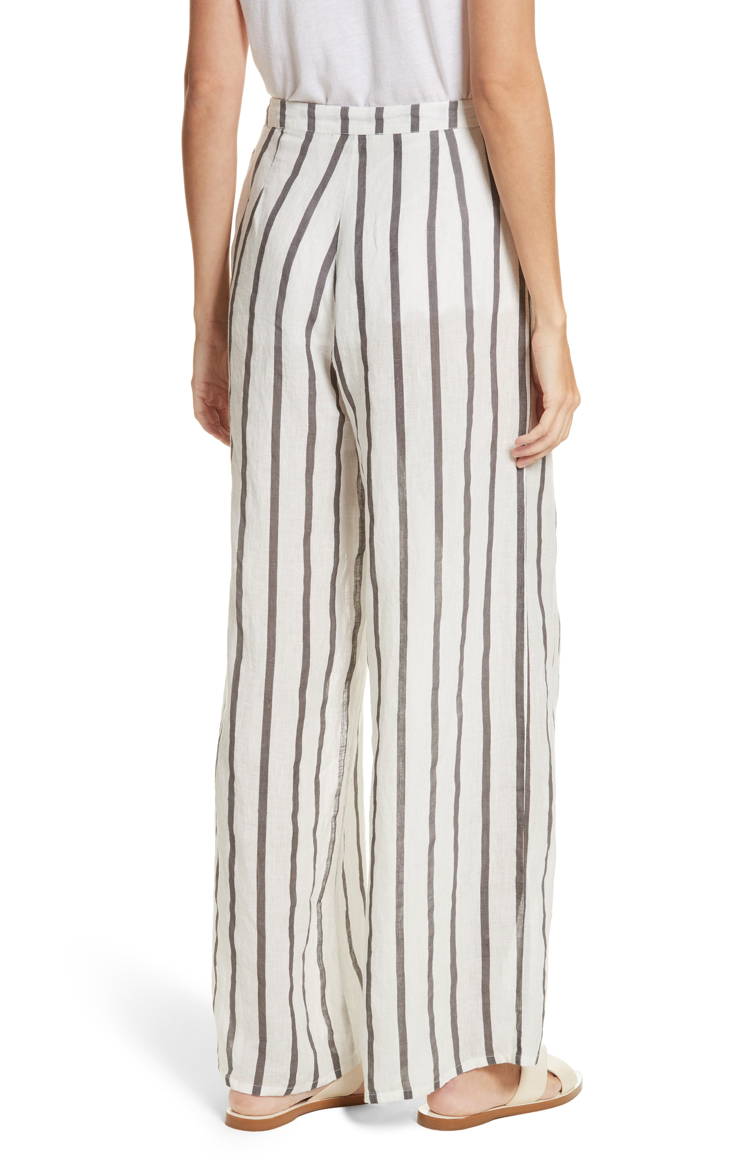 Andrea Embroidered Wide Leg Pants,                             Alternate thumbnail 2, color,                             Off White/ Grey