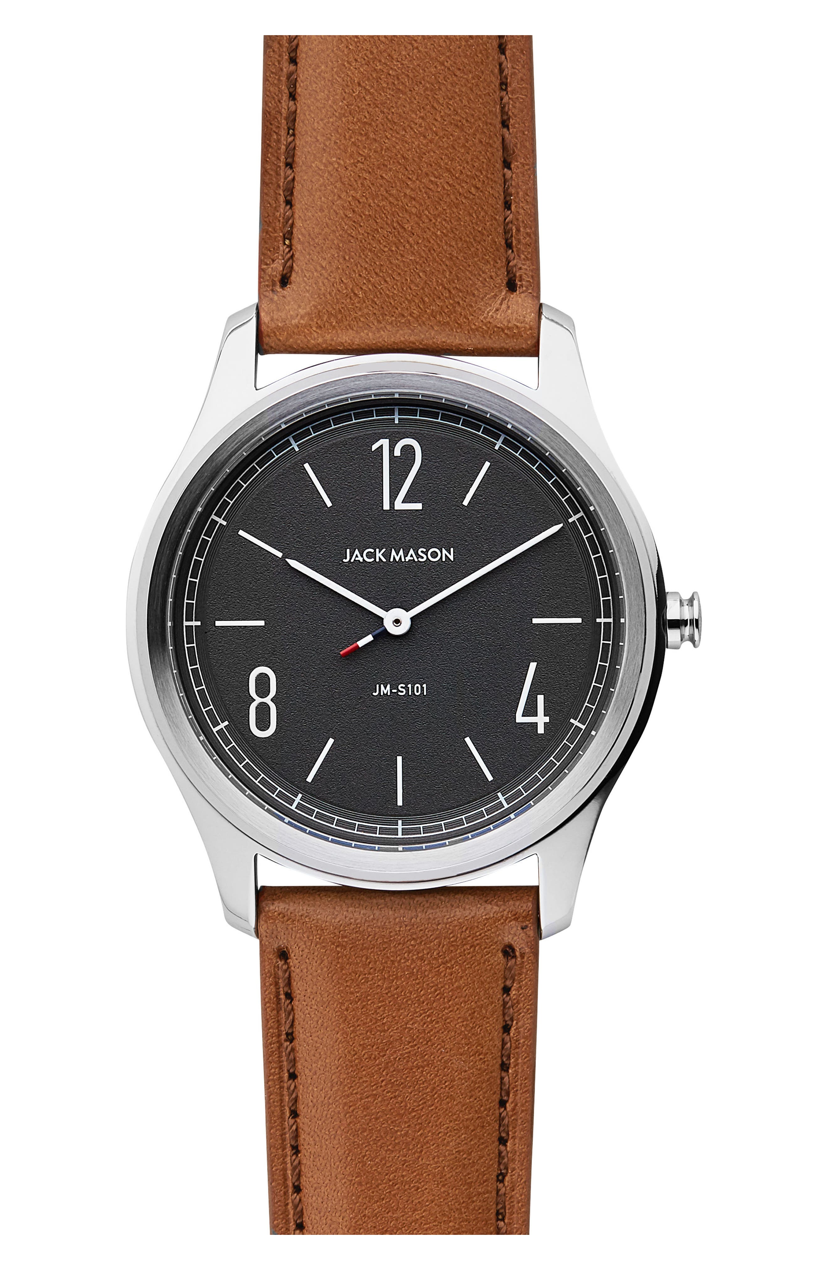 JACK MASON Slim Leather Strap Watch, 42Mm in Grey/ Brown