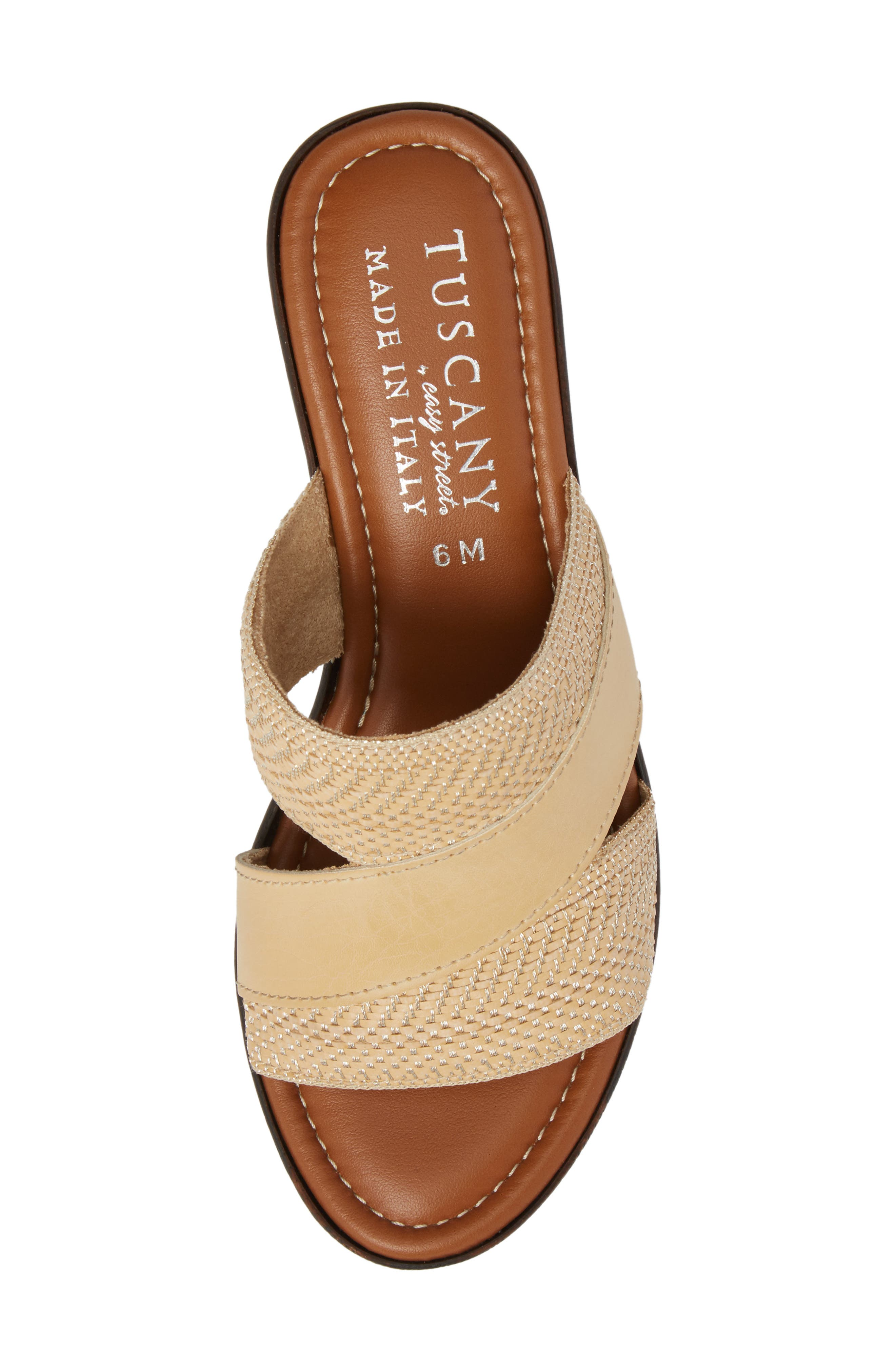 by Easy Street<sup>®</sup> Positano Sandal,                             Alternate thumbnail 5, color,                             Beige/ Woven Faux Leather