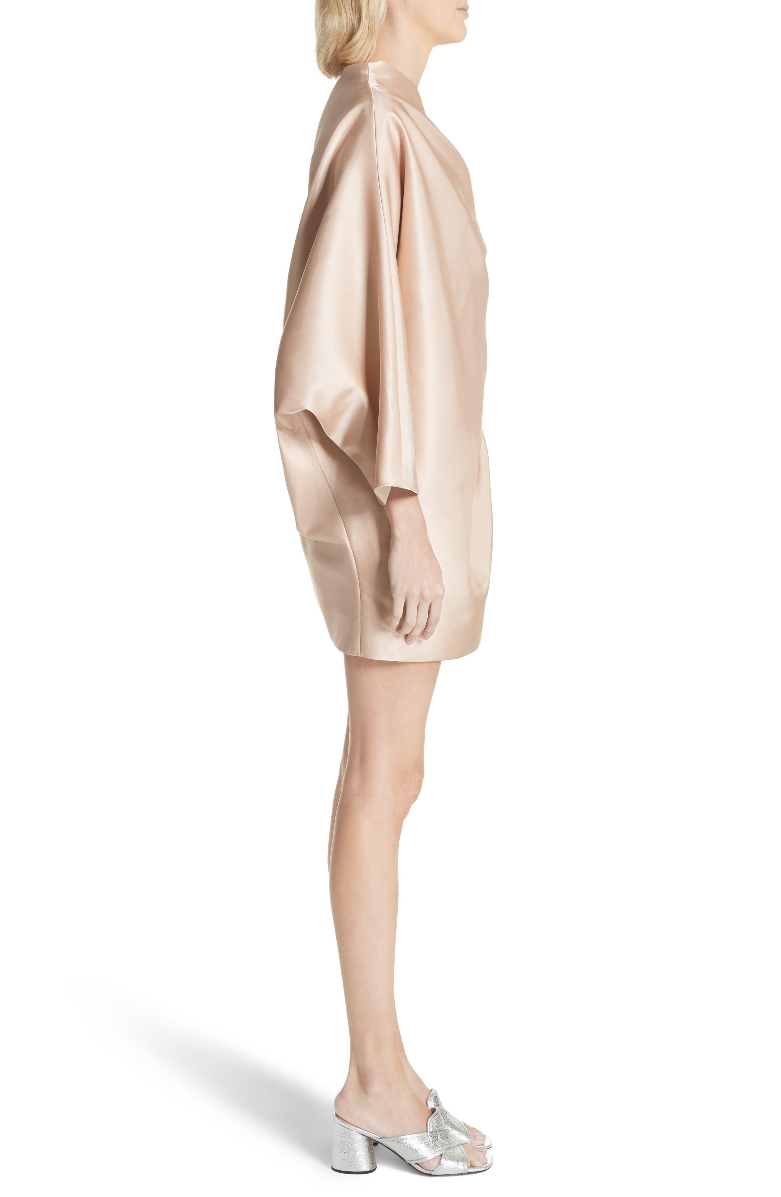 One-Shoulder Gathered Dress,                             Alternate thumbnail 3, color,                             Champagne