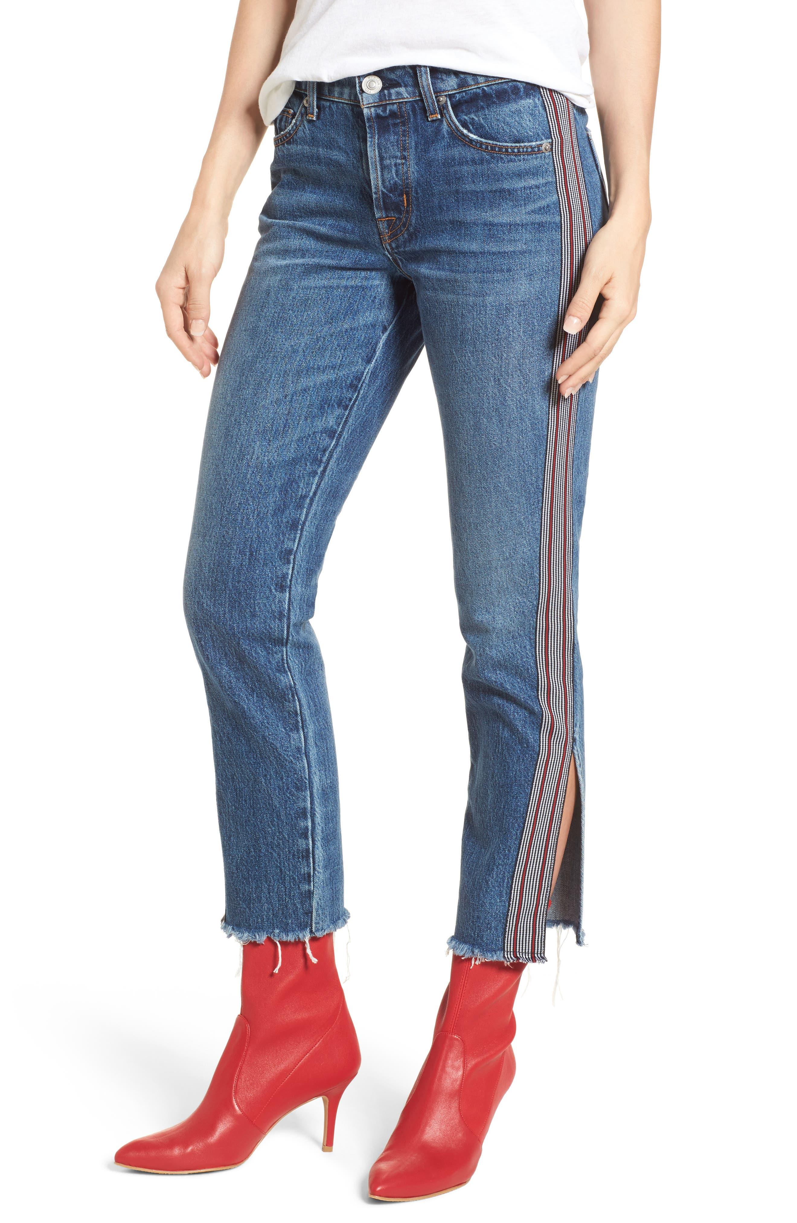 Riley Crop Straight Leg Jeans,                             Main thumbnail 1, color,                             Forgiver