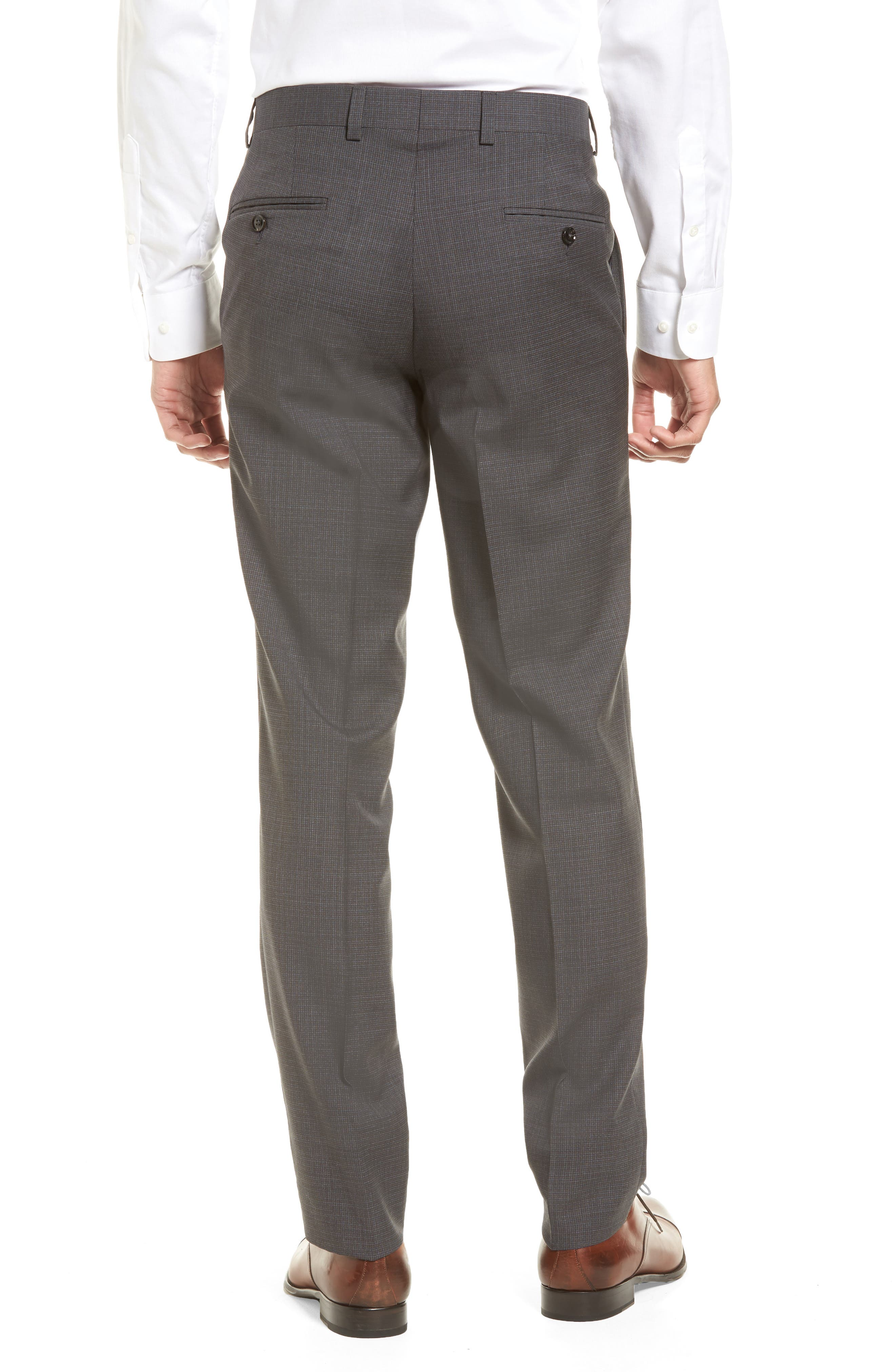 Jefferson Flat Front Wool Trousers,                             Alternate thumbnail 2, color,                             Grey