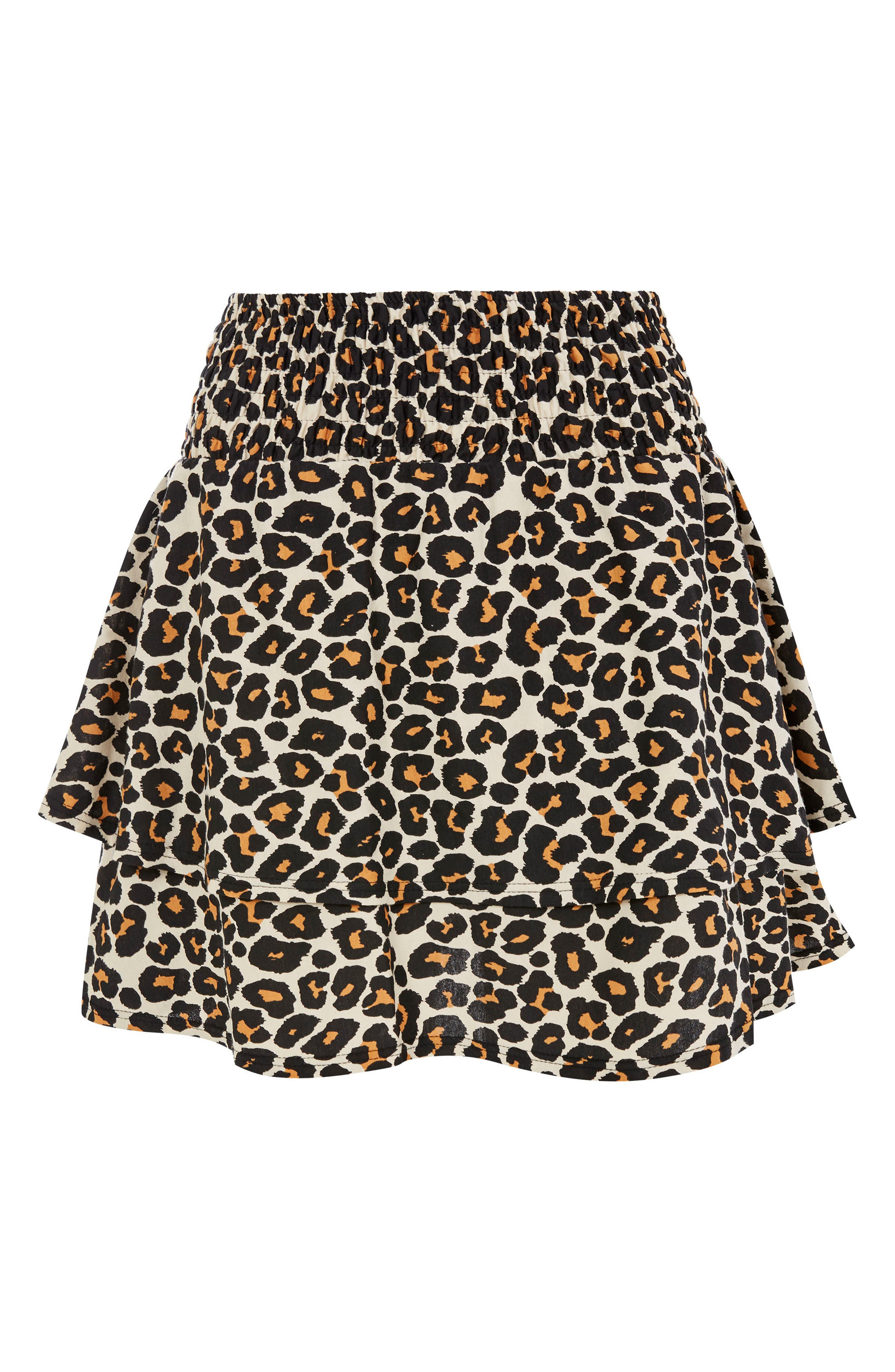 Tiered Leopard Skirt,                             Alternate thumbnail 3, color,                             Leopard