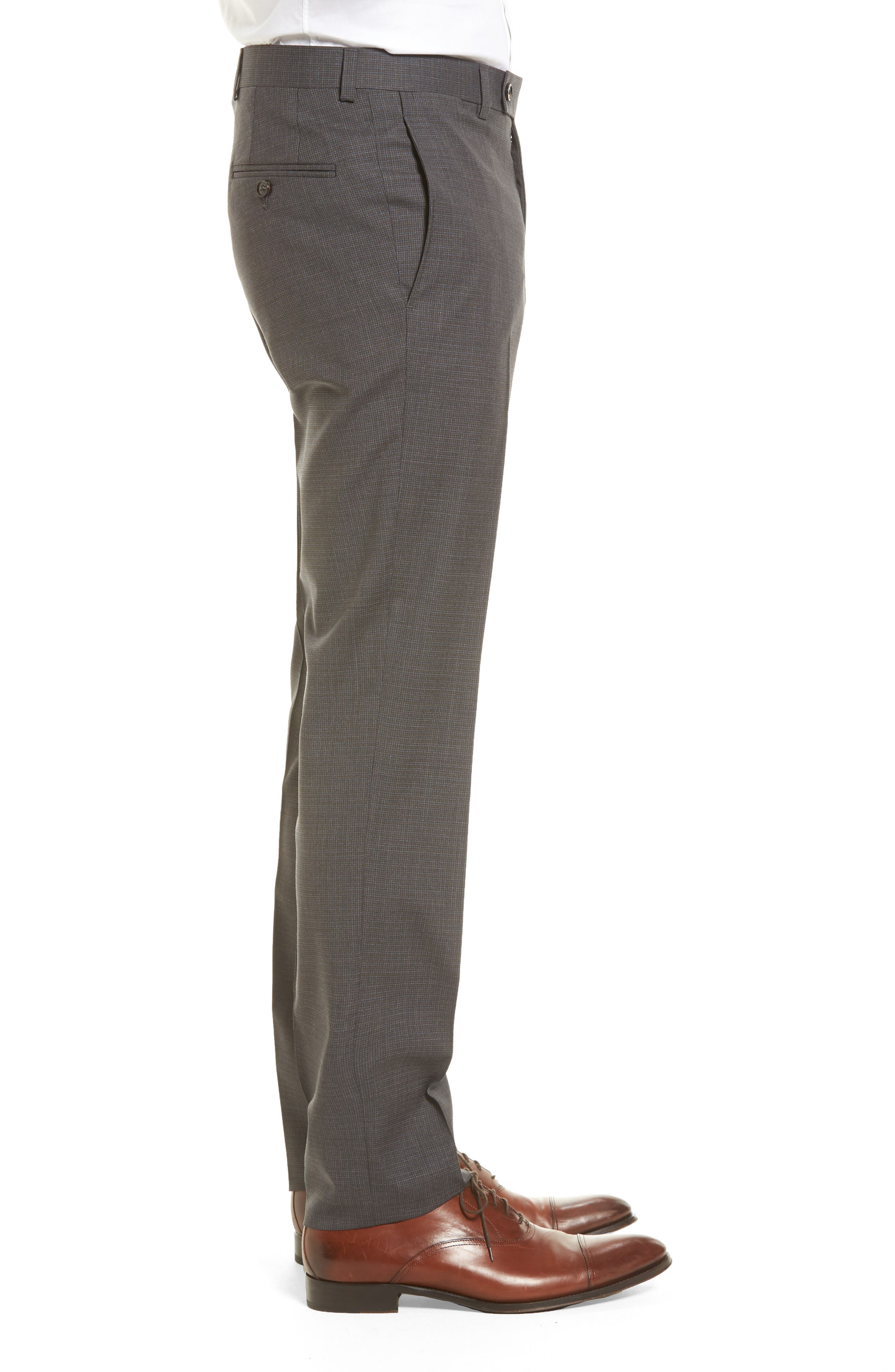 Jefferson Flat Front Wool Trousers,                             Alternate thumbnail 3, color,                             Grey